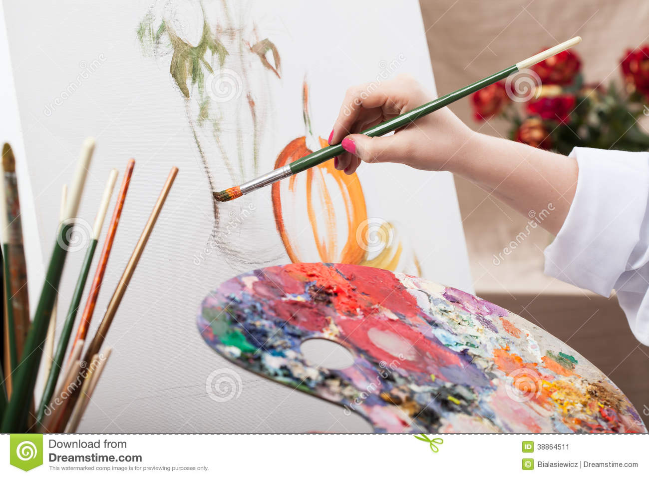 Download Artist painting a picture stock image. Image of creativity - 38864511