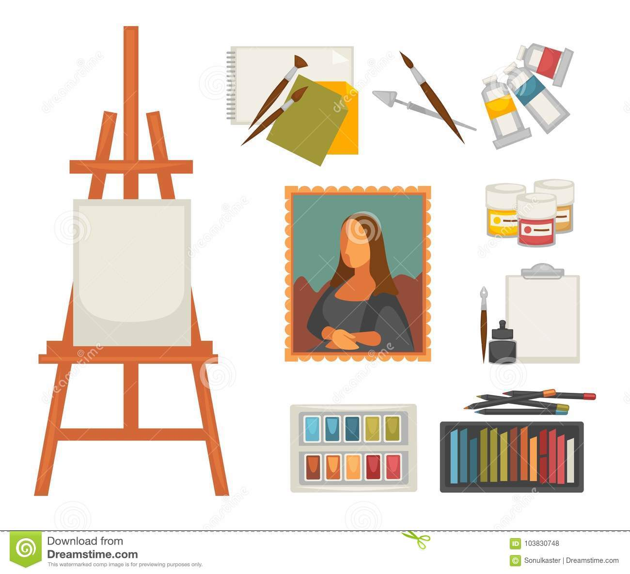 Artist Painting Materials And Creative Art Picture Drawing