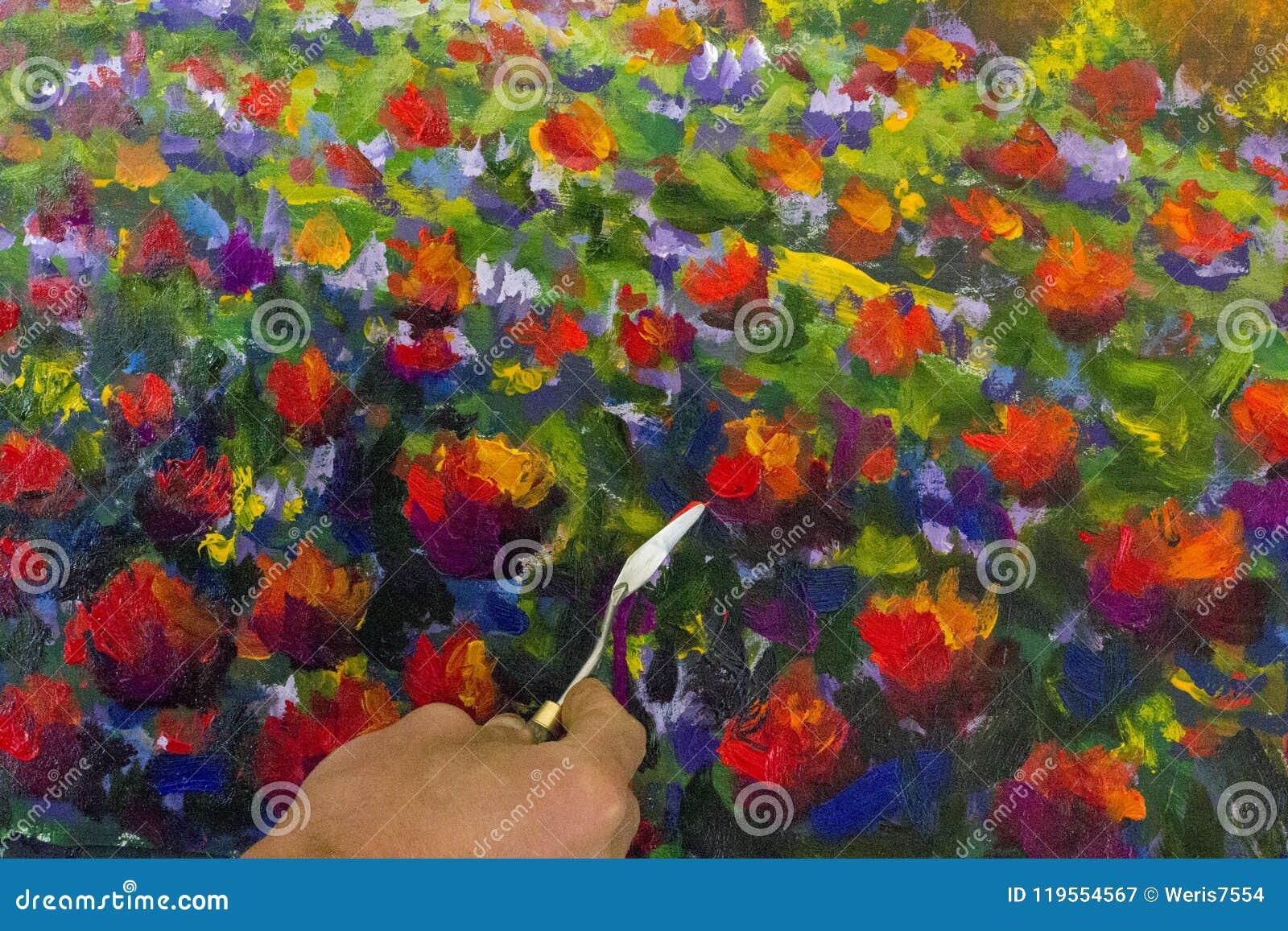 art creative process artist create heart painting on canvas stock