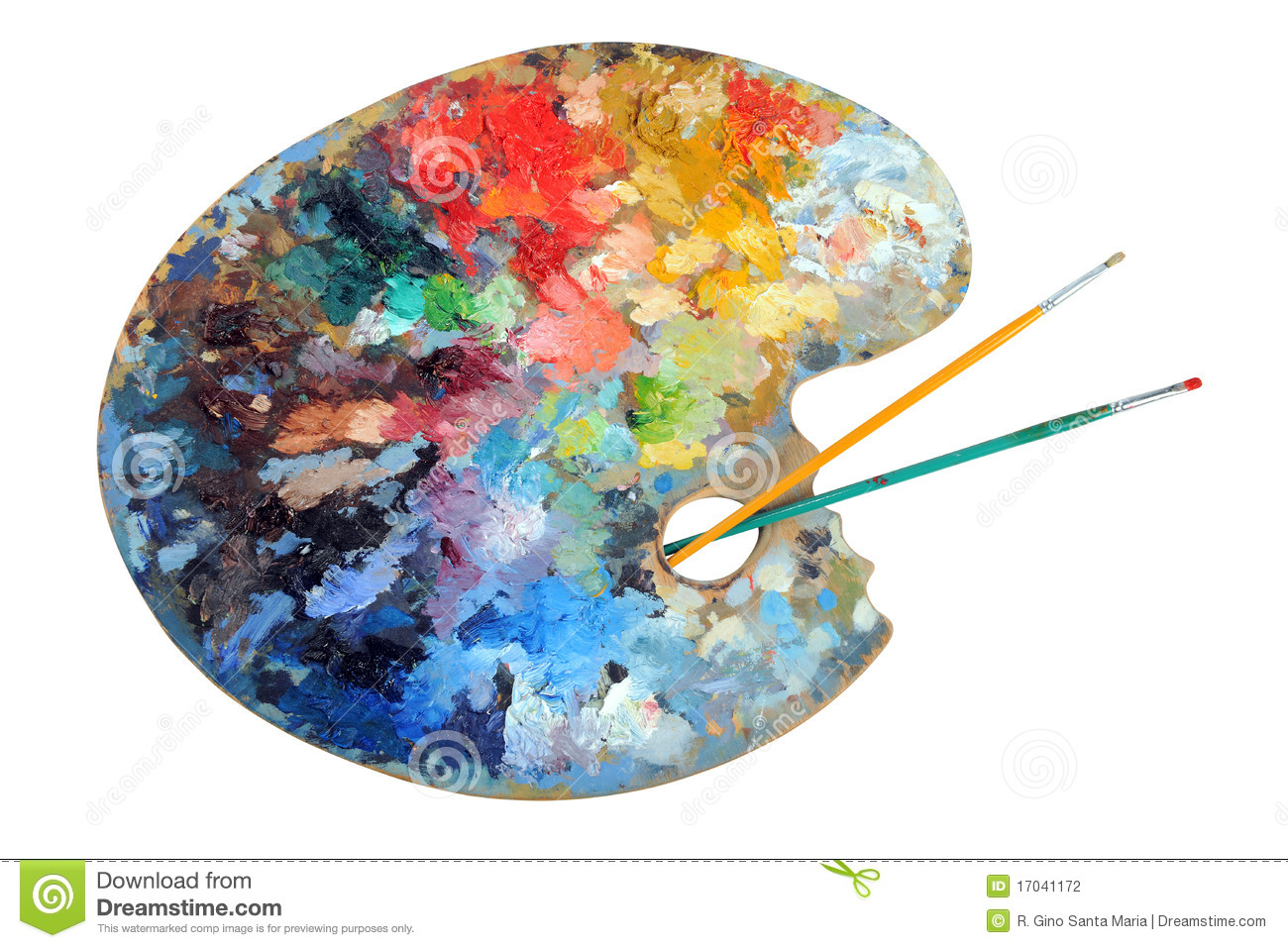 Artist's Palette With Paintbrushes Stock Photography - Image: 17041172