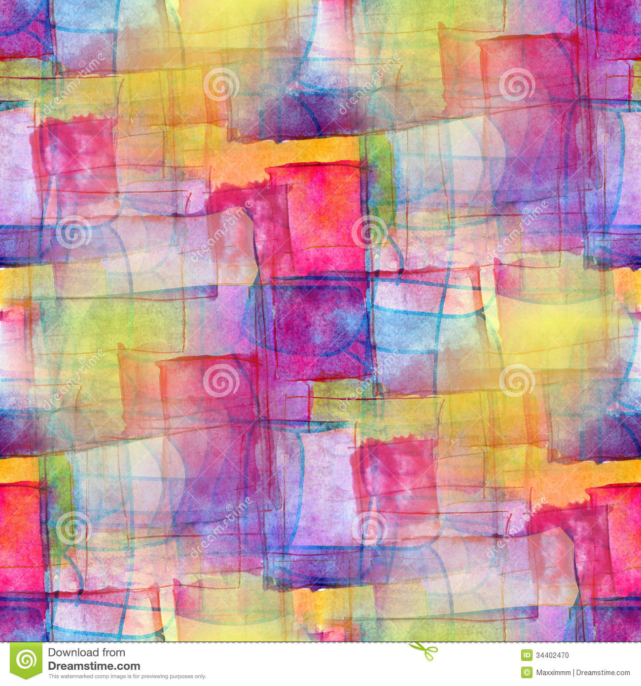 Artist Seamless Blue Cubism Abstract Watercolor