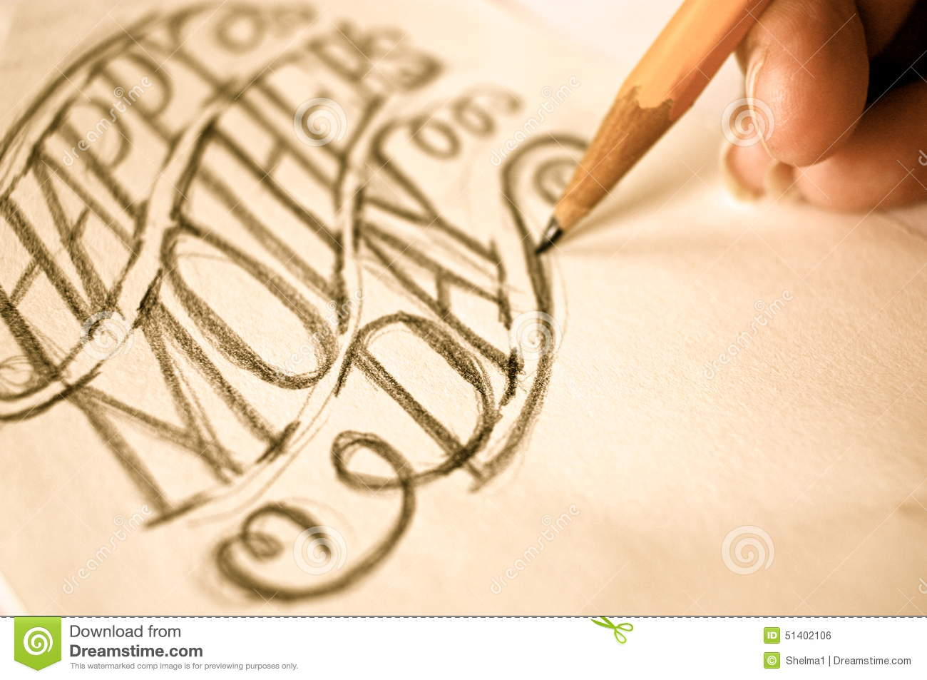Artist sketching hand lettering happy mothers day