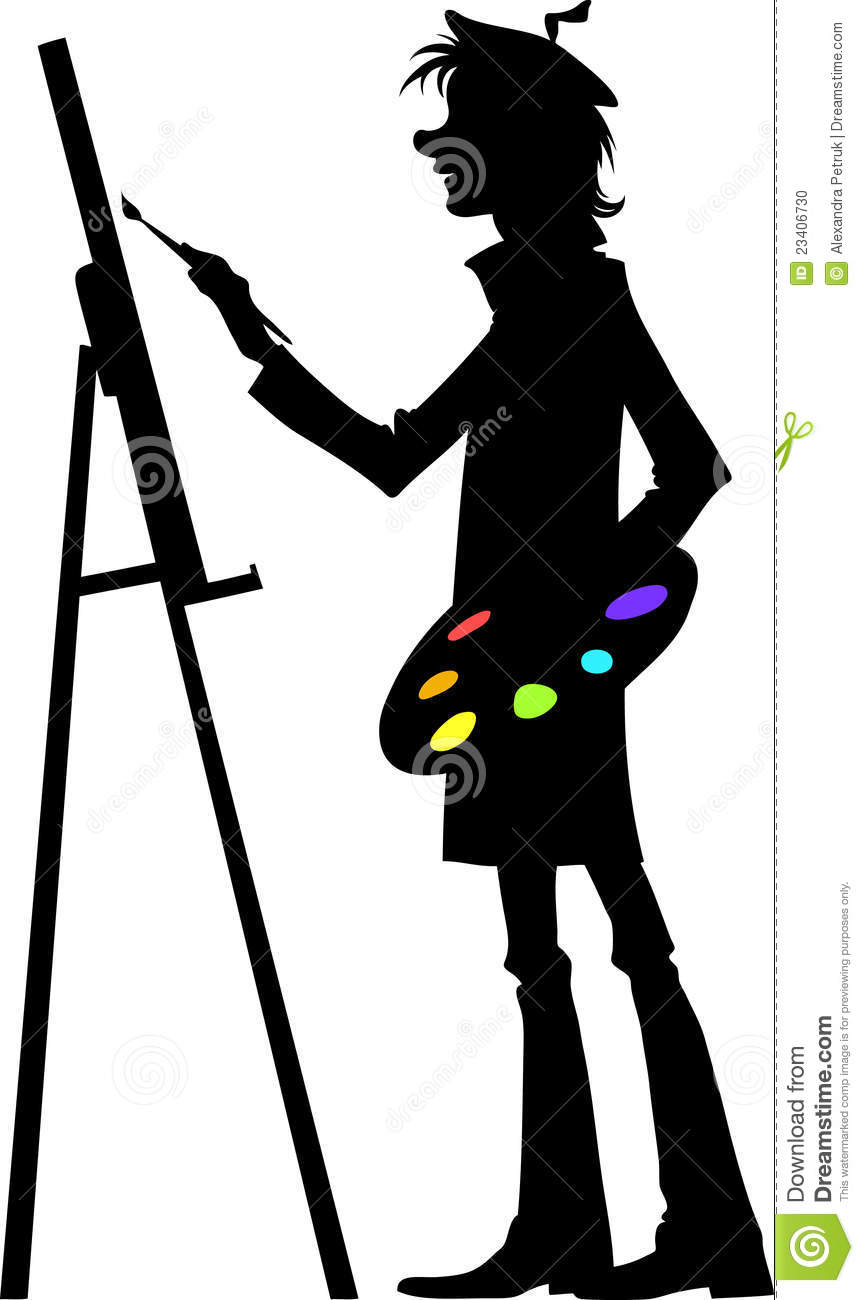 Illustration of the artist working at his painting using his brush ...