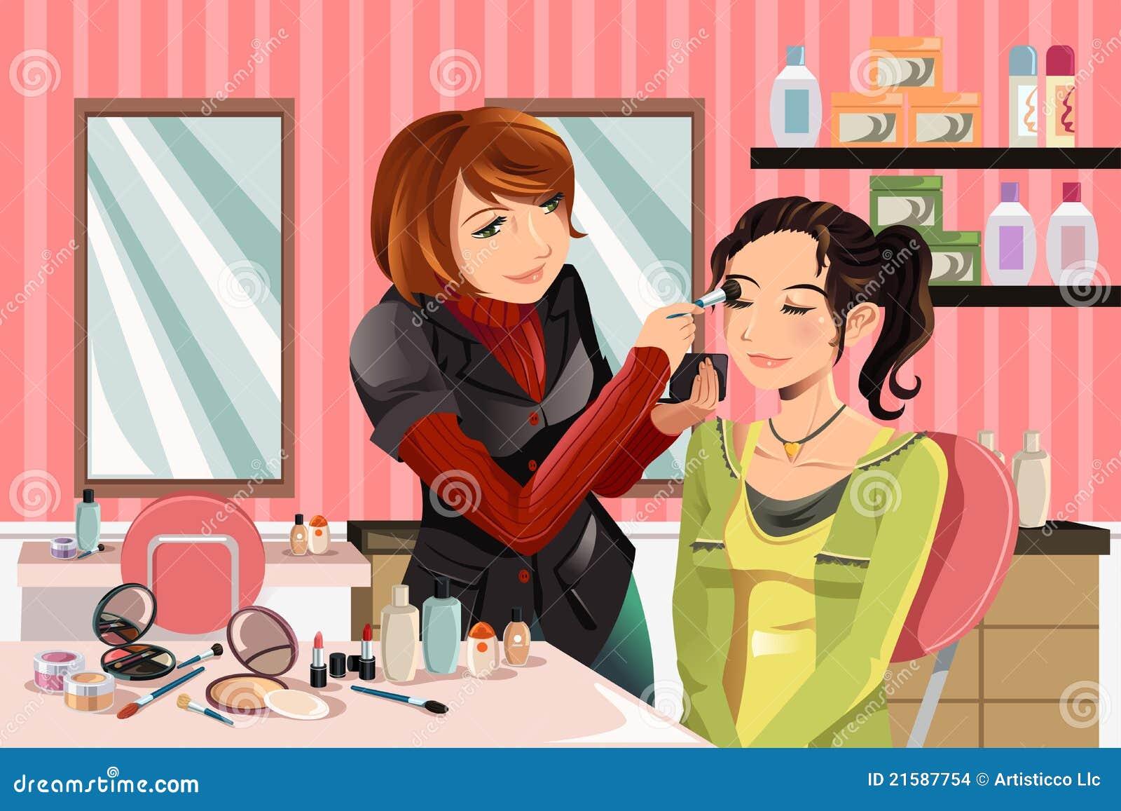 Artista de maquillaje en el trabajo