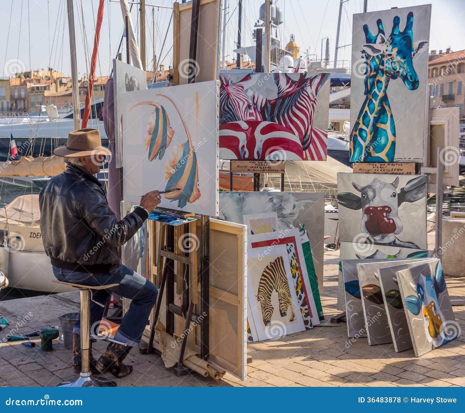 Artiste Peintre St Tropez artiste à st tropez, france photo stock éditorial - image du