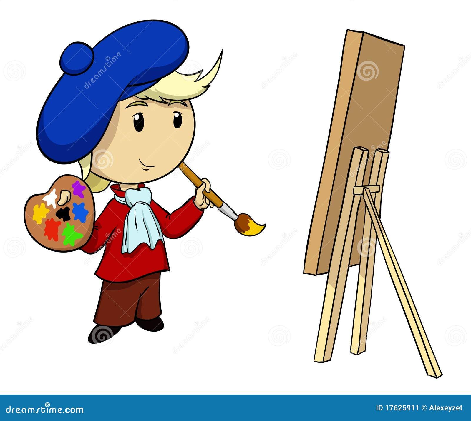 Artiste de dessin anim avec la palette et le balai - Palette a dessin ...
