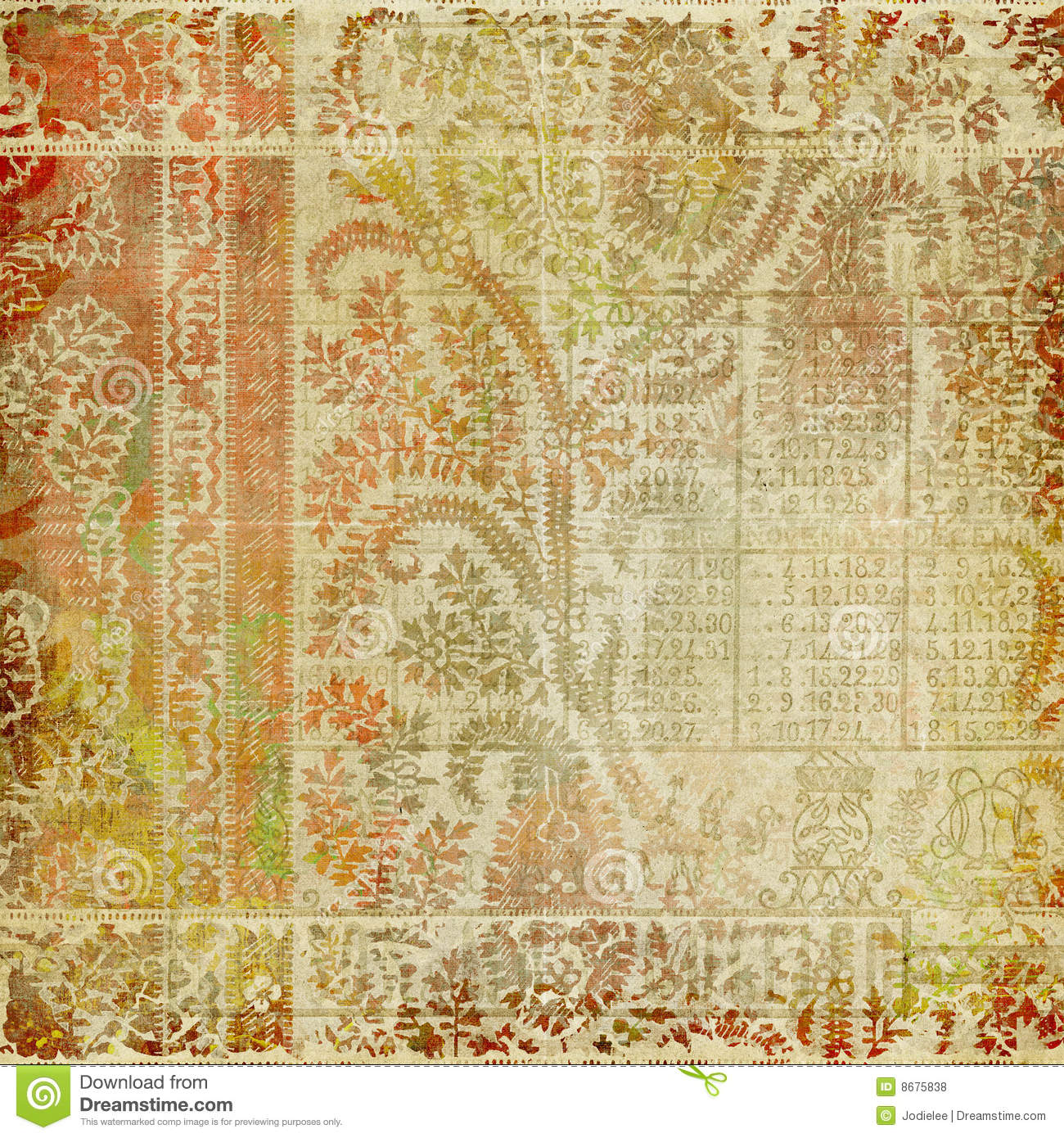 Funky batik Paisley grungy artistic background for scrapbooking or ...