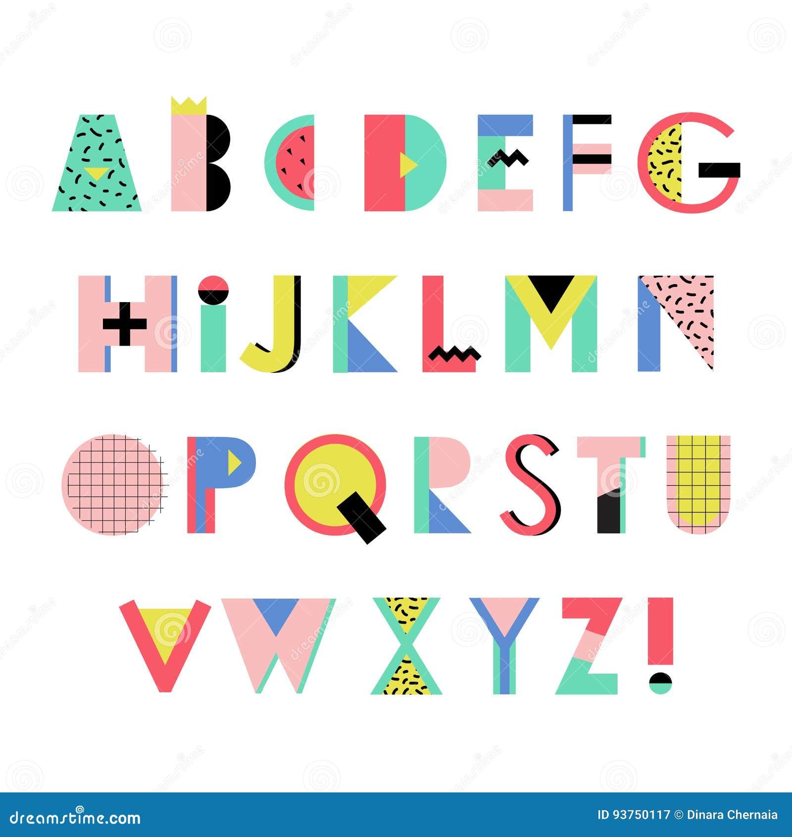 Alphabet Style artistic alphabet in trendy memphis geometric style. creative font