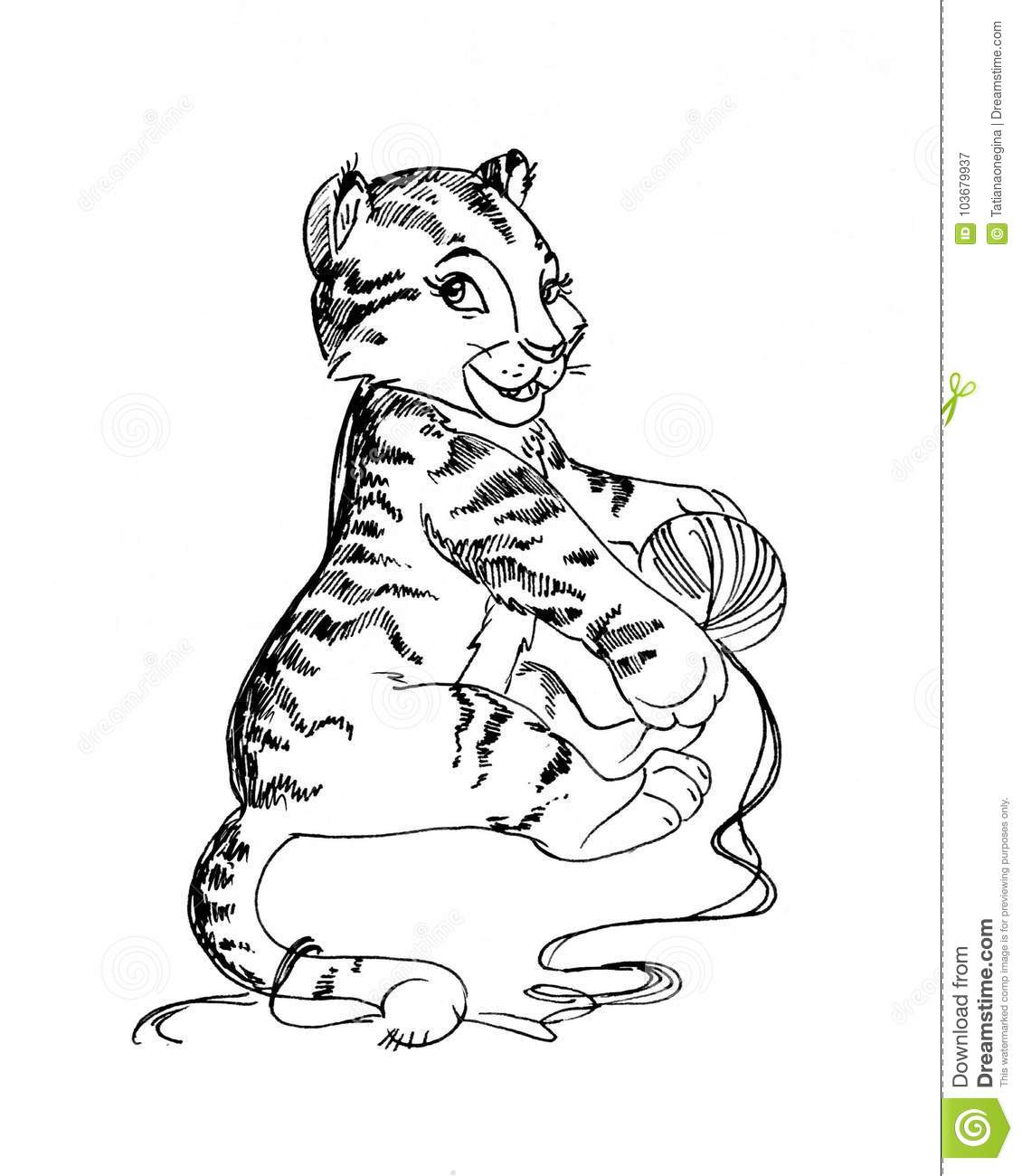 Cartoon graphic artwork of little tiger cub playing with ball of yarn