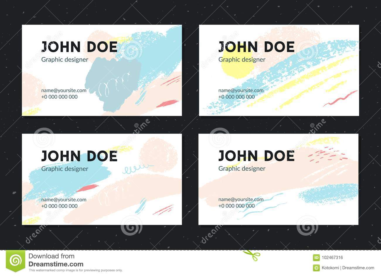 Artistic Business Card Template. Creative Brush Strokes With Pastel ...