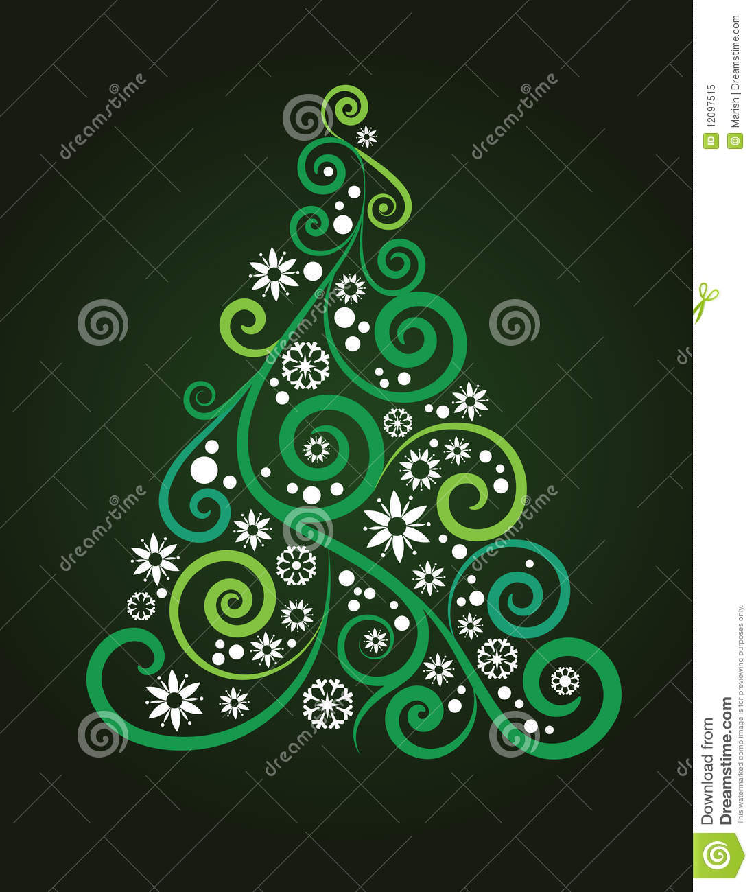 Artistic christmas tree stock vector image of floral