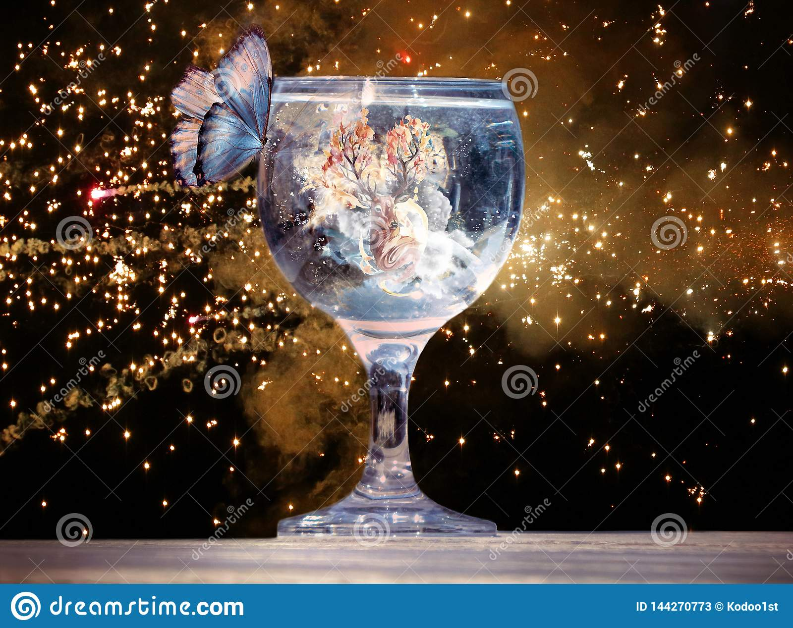 Artistic 3d rendering illustration of a butterfly on a cup of water in a unique artwork