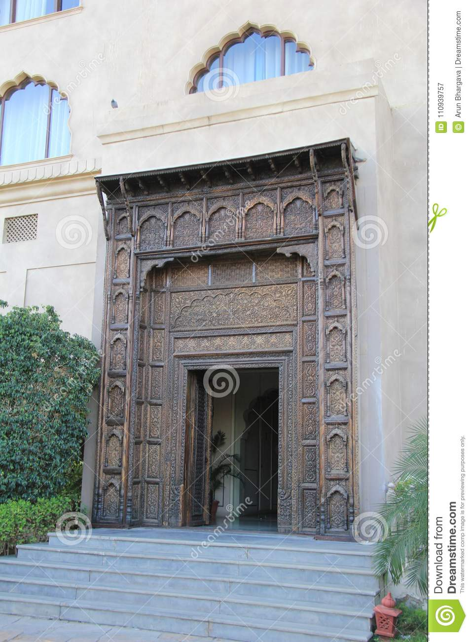 Artistic Decorated Wooden Entrance Gate Stock Image Image Of