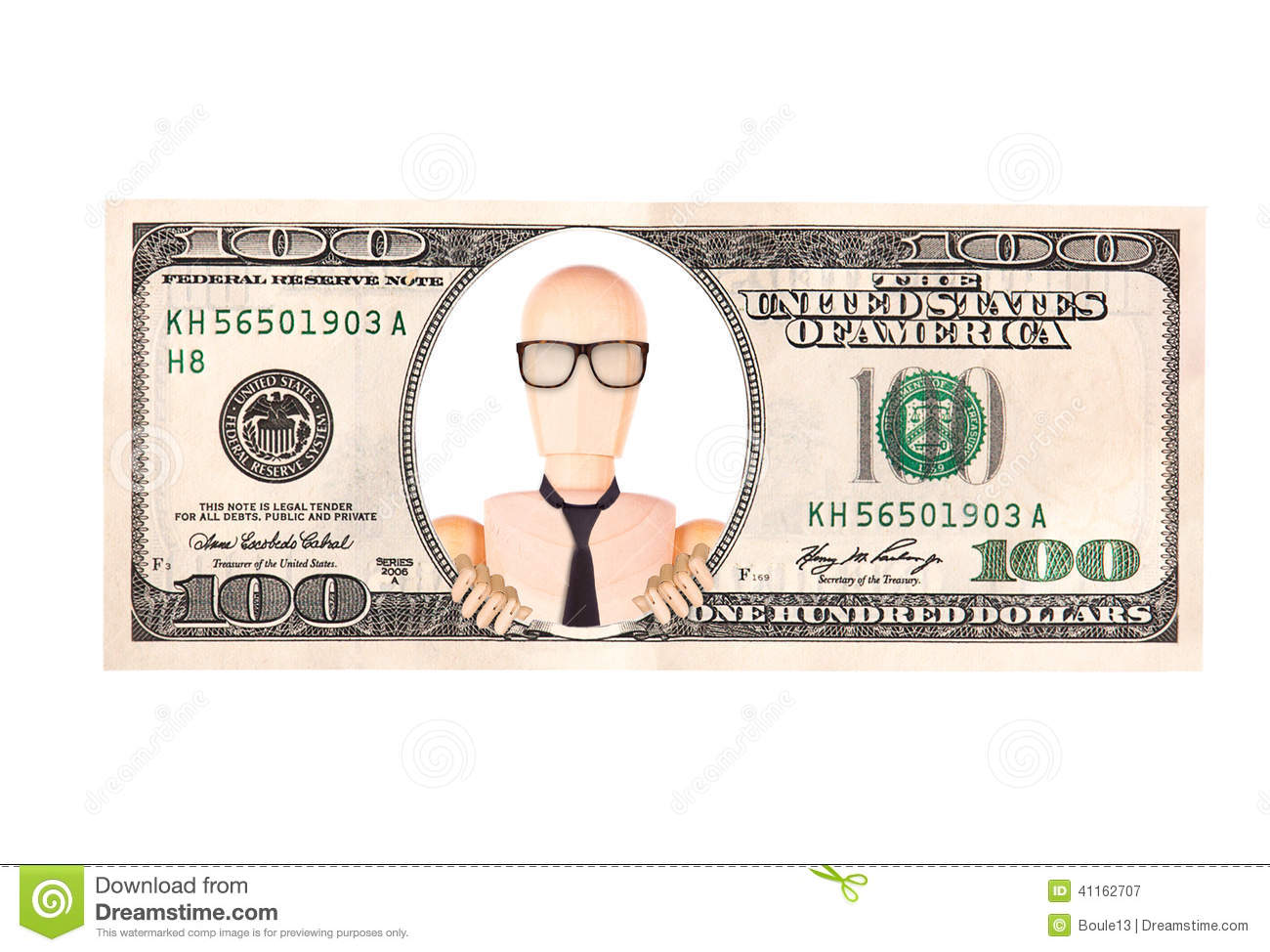 Artistic Dollar Bill With Wooden Dummy President Stock Image