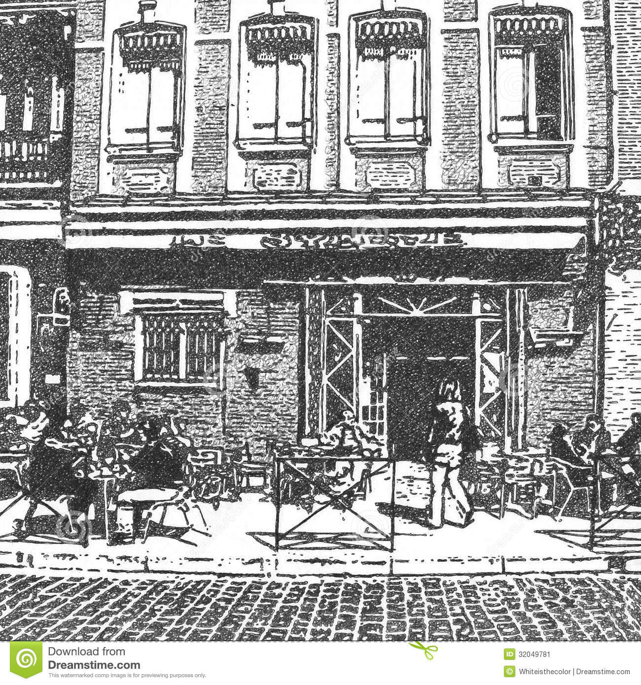 Artistic Drawing Of A French Street Cafe Stock Image - Image: 32049781