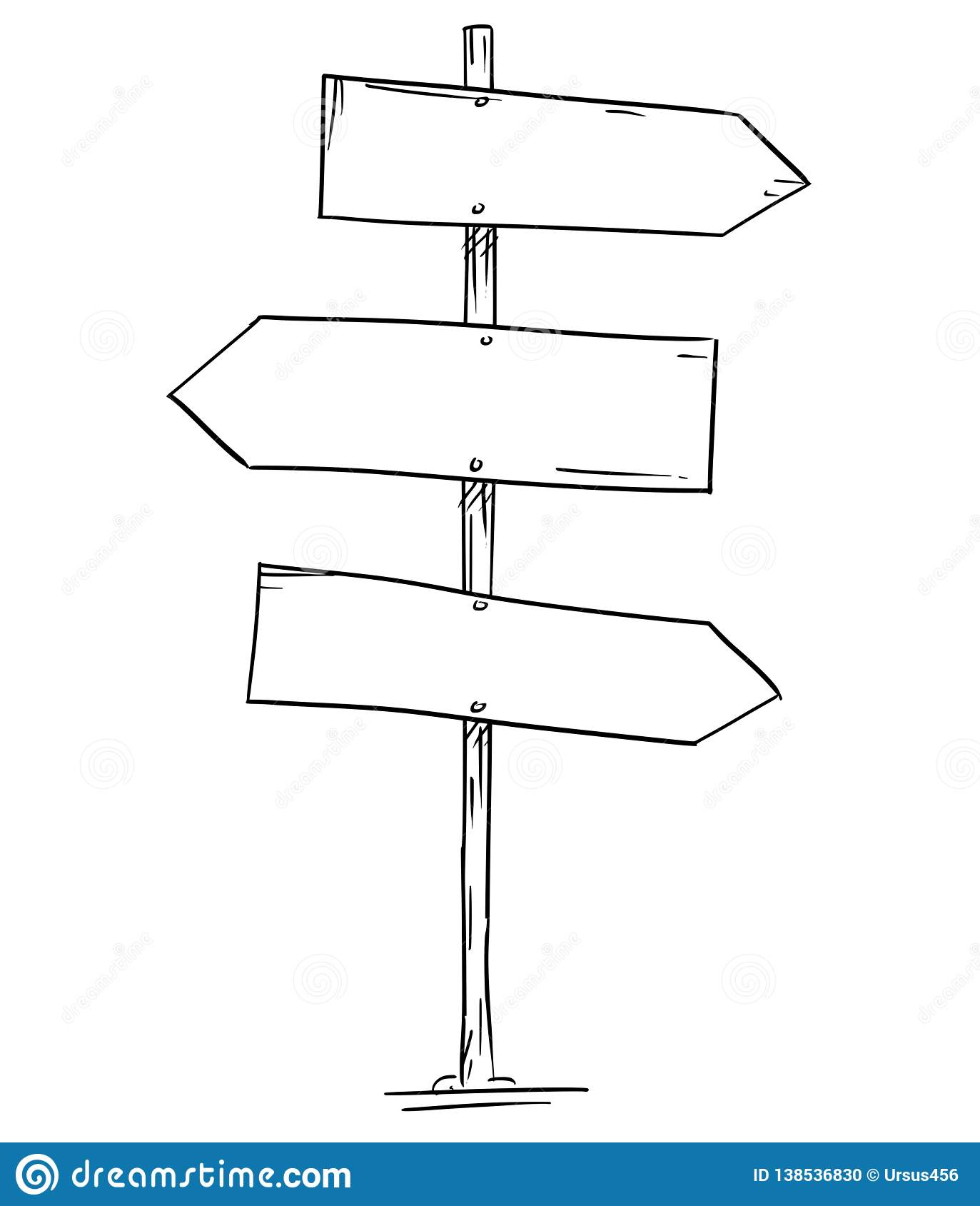 Drawing Of Empty Old Wooden Road Three Directional Arrow