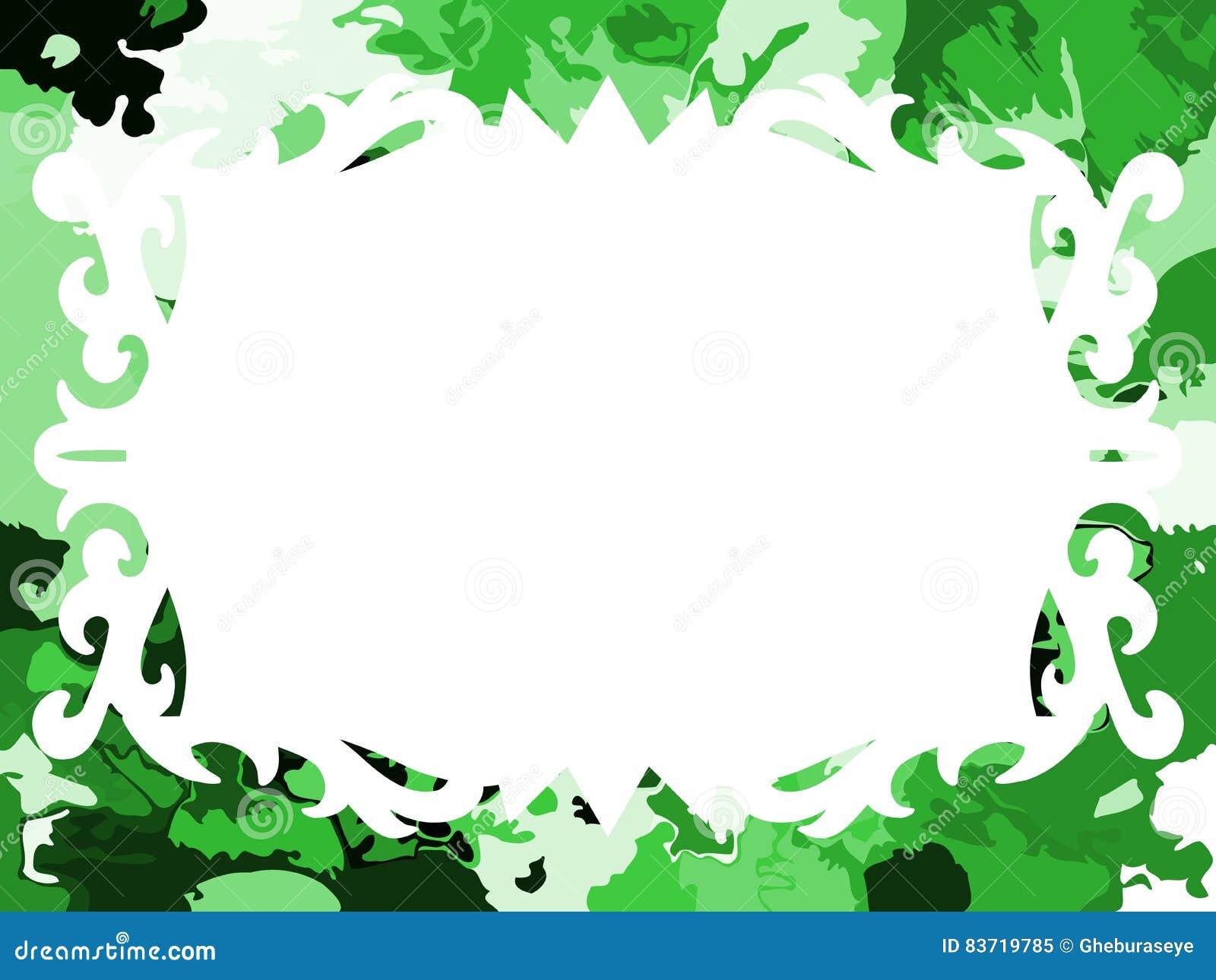 Artistic Elegant Frame In Green Tones Isolated Stock Vector