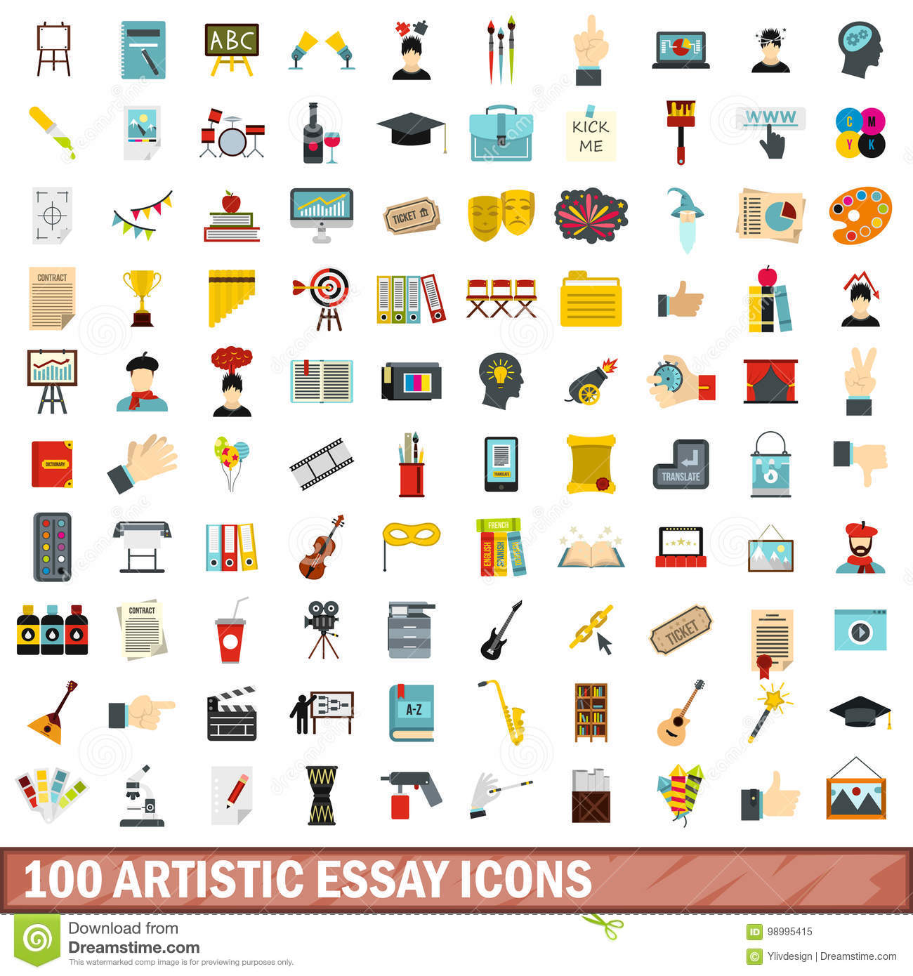 artistic essay icons set flat style stock vector image  100 artistic essay icons set flat style