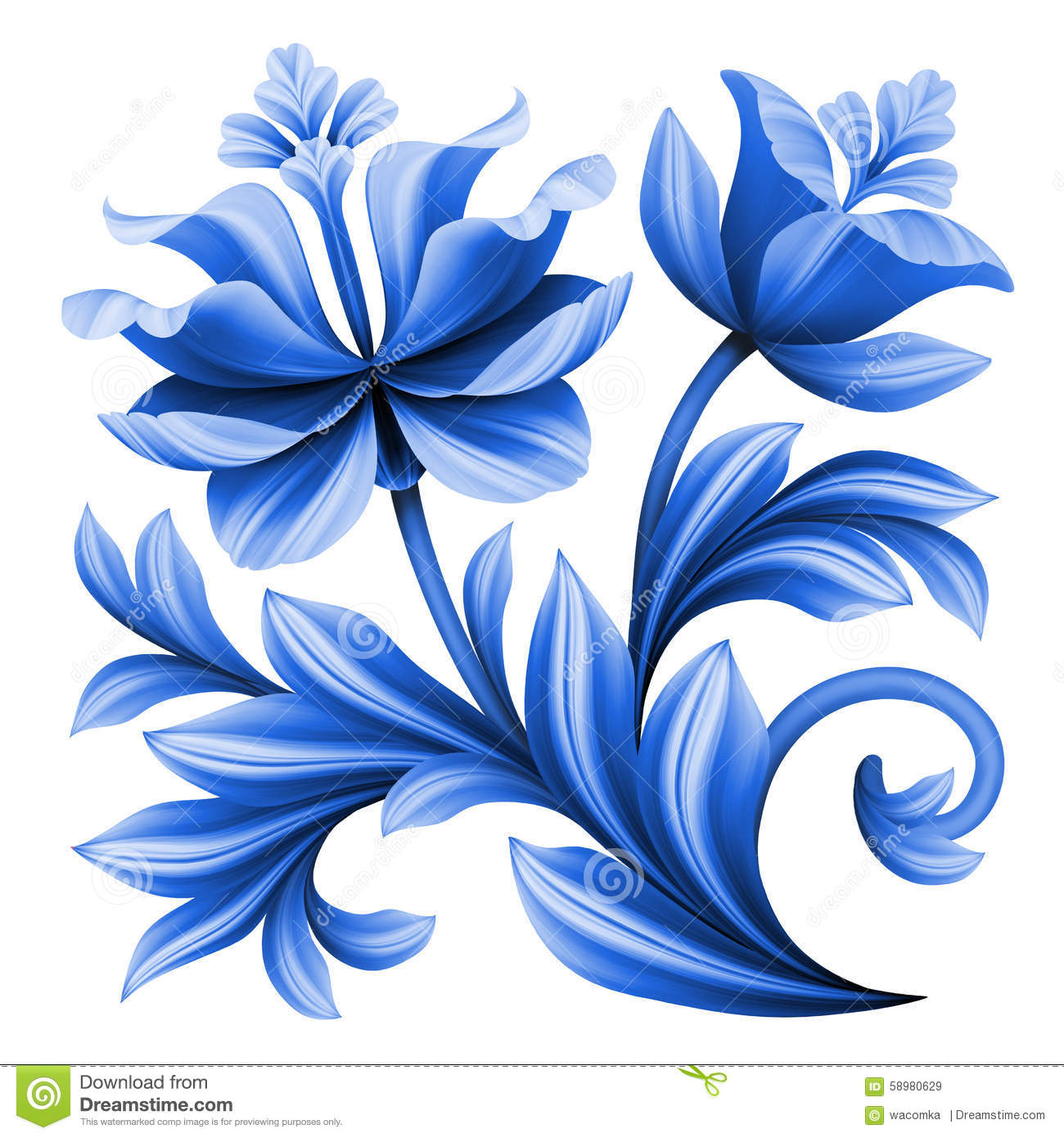 Artistic floral element abstract gzhel folk art blue flowers stock - Abstract Art Artistic Background Blue Element Floral Flowers Folk