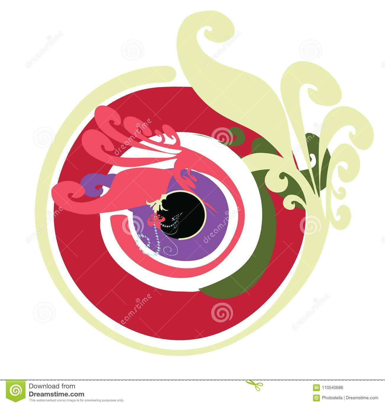 Artistic Greek Evil Eye Vector In Multipule Colors Stock Vector