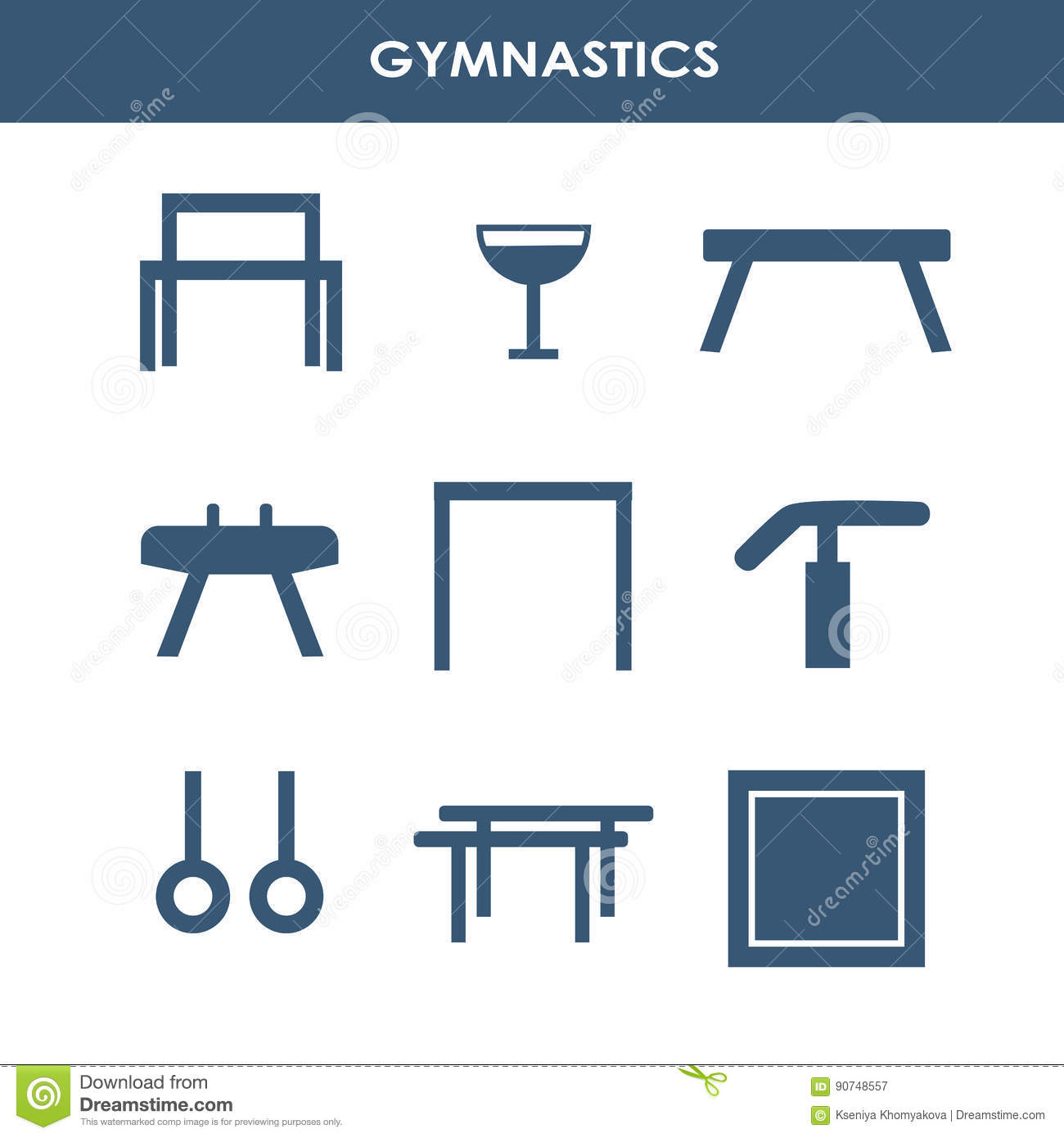Artistic Gymnastics Equipment Stock Vector Illustration