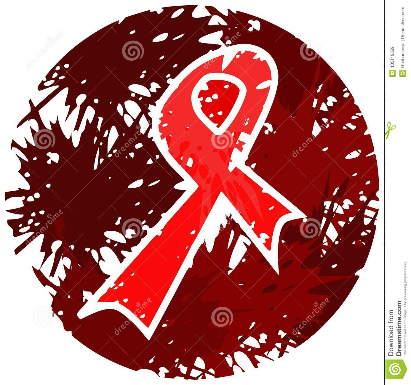 Red ribbon made with spots isolated