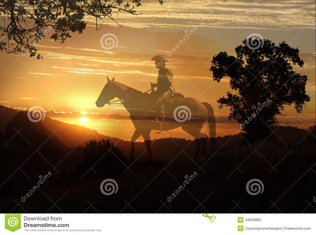 Download An Artistic Image Of A Cowboy Riding In A Meadow With Trees And A Transparent Yellow Sunet Background. Stock Image - Image of drama, ravens: 43949885