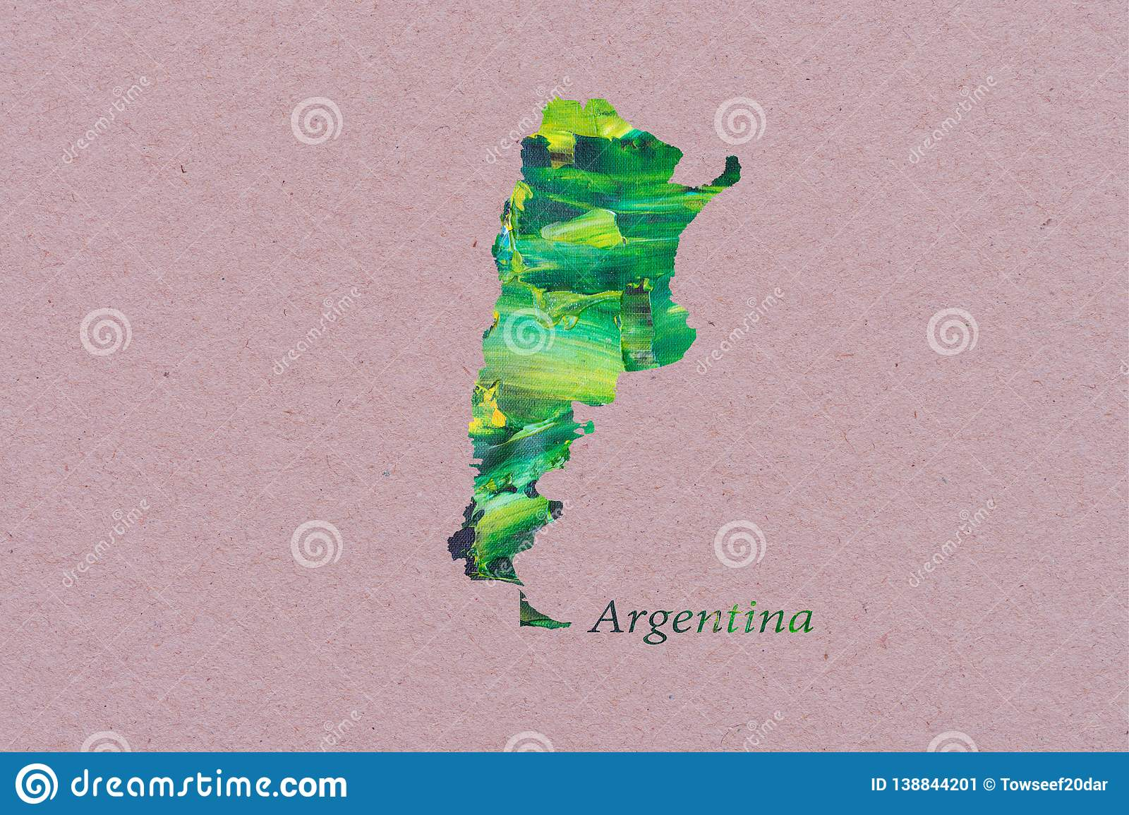 Artistic Map of Argentina stock illustration. Illustration ...