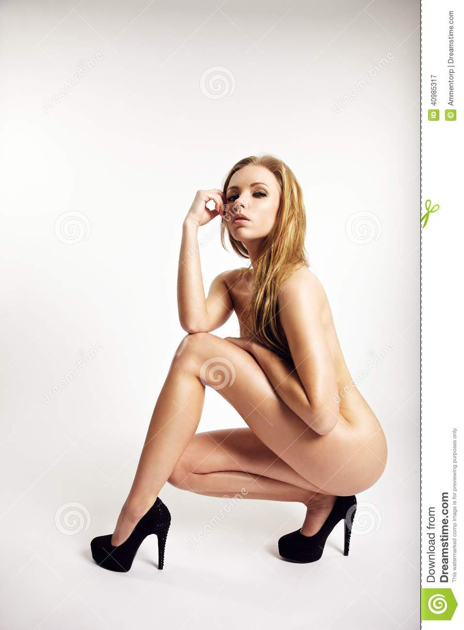 Artistic Nude Woman Posing On White Background Stock Image - Image ...