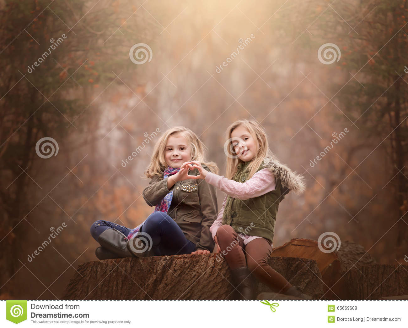 Artistic Outdoor Portrait Of Two Blond Girls Sitting On A Log Tree In Woods