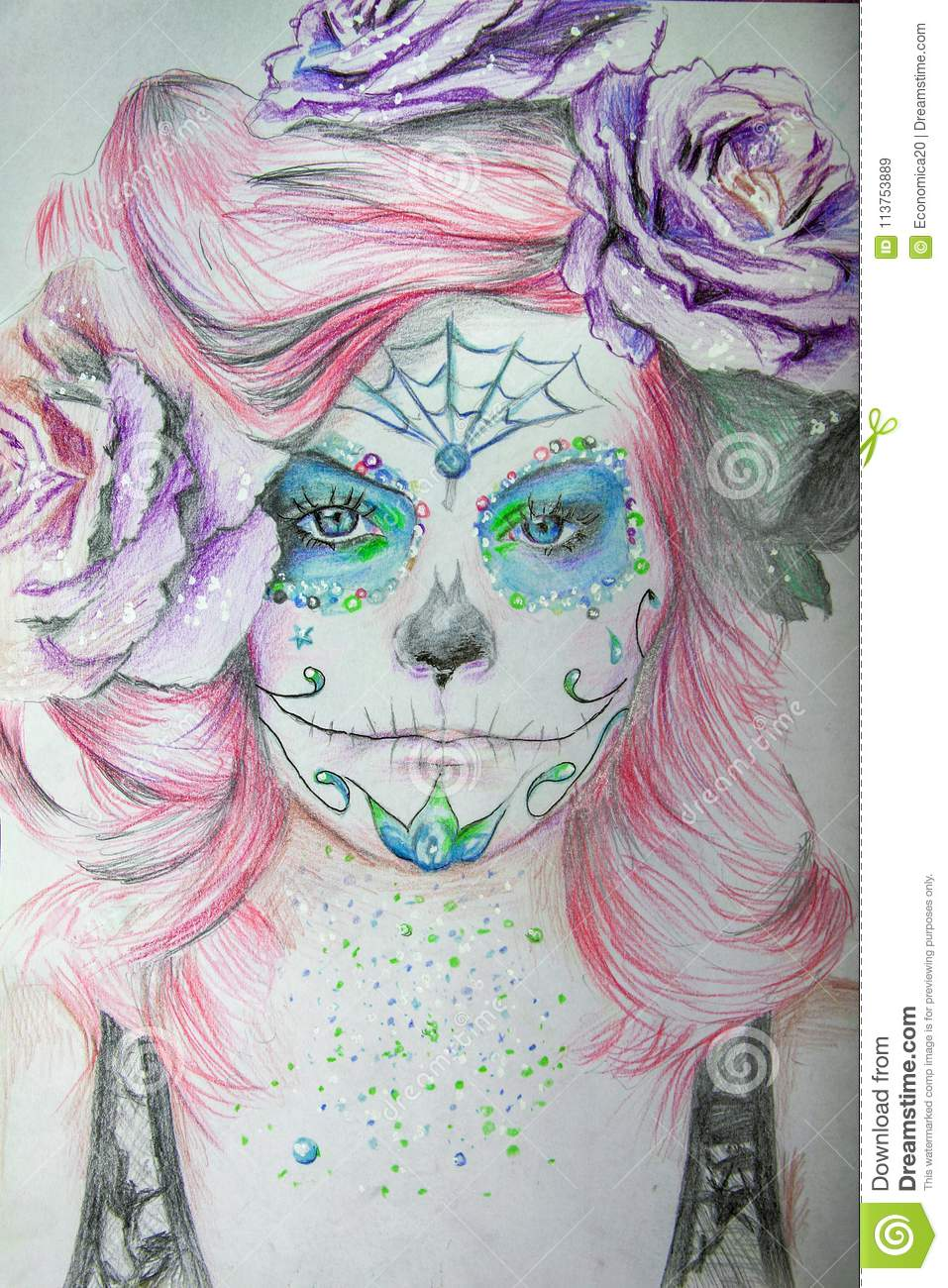 Hand drawn portrait of a beautiful girl with carnival mask
