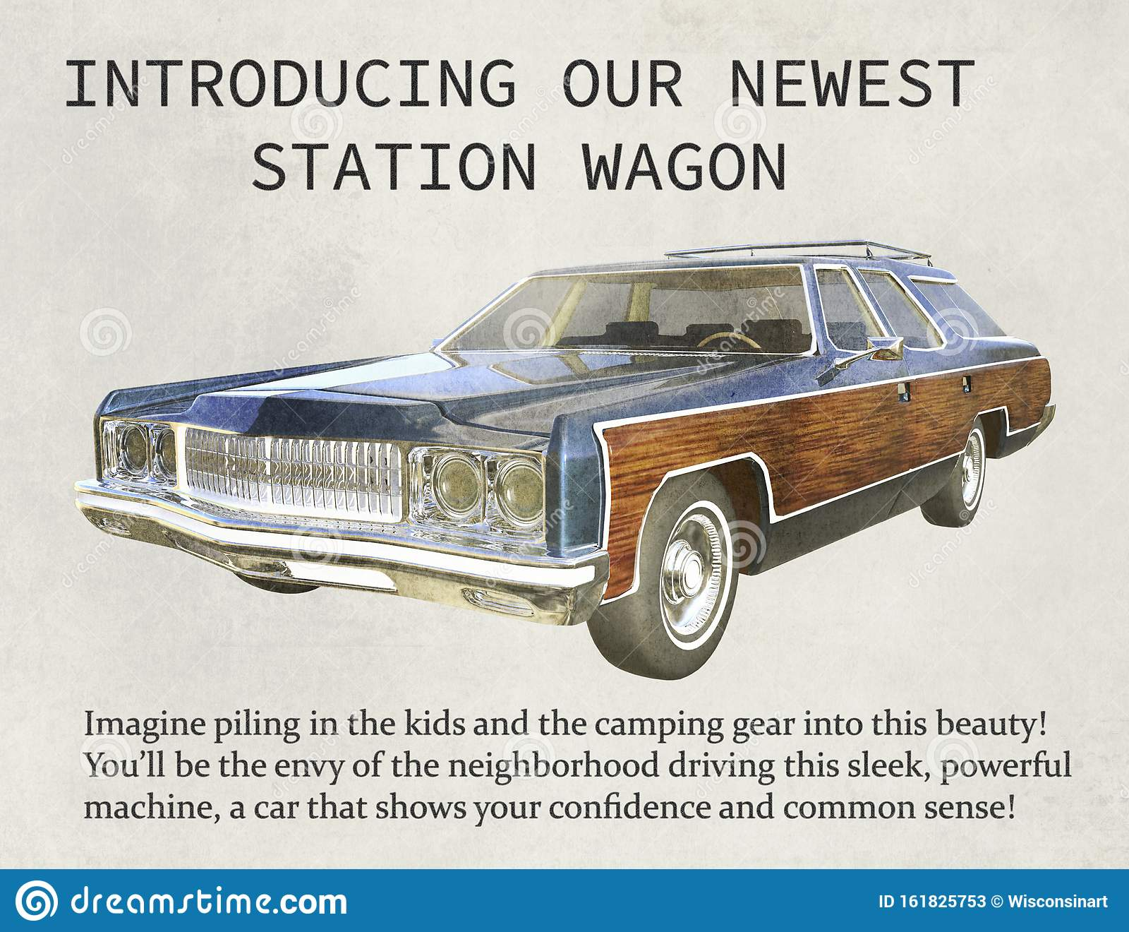 Vintage Station Wagon Sales Marketing Advertisement Stock Image Image Of Print Business 161825753