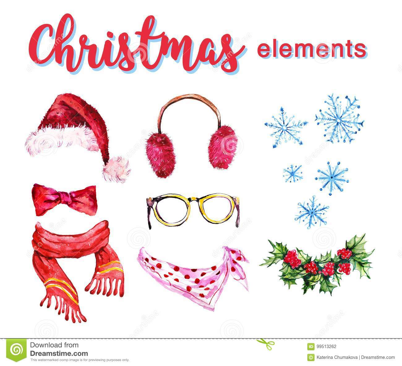 6a1bc733c6d Artistic set of hand drawn watercolor winter objects isolated on white  background - santa hat