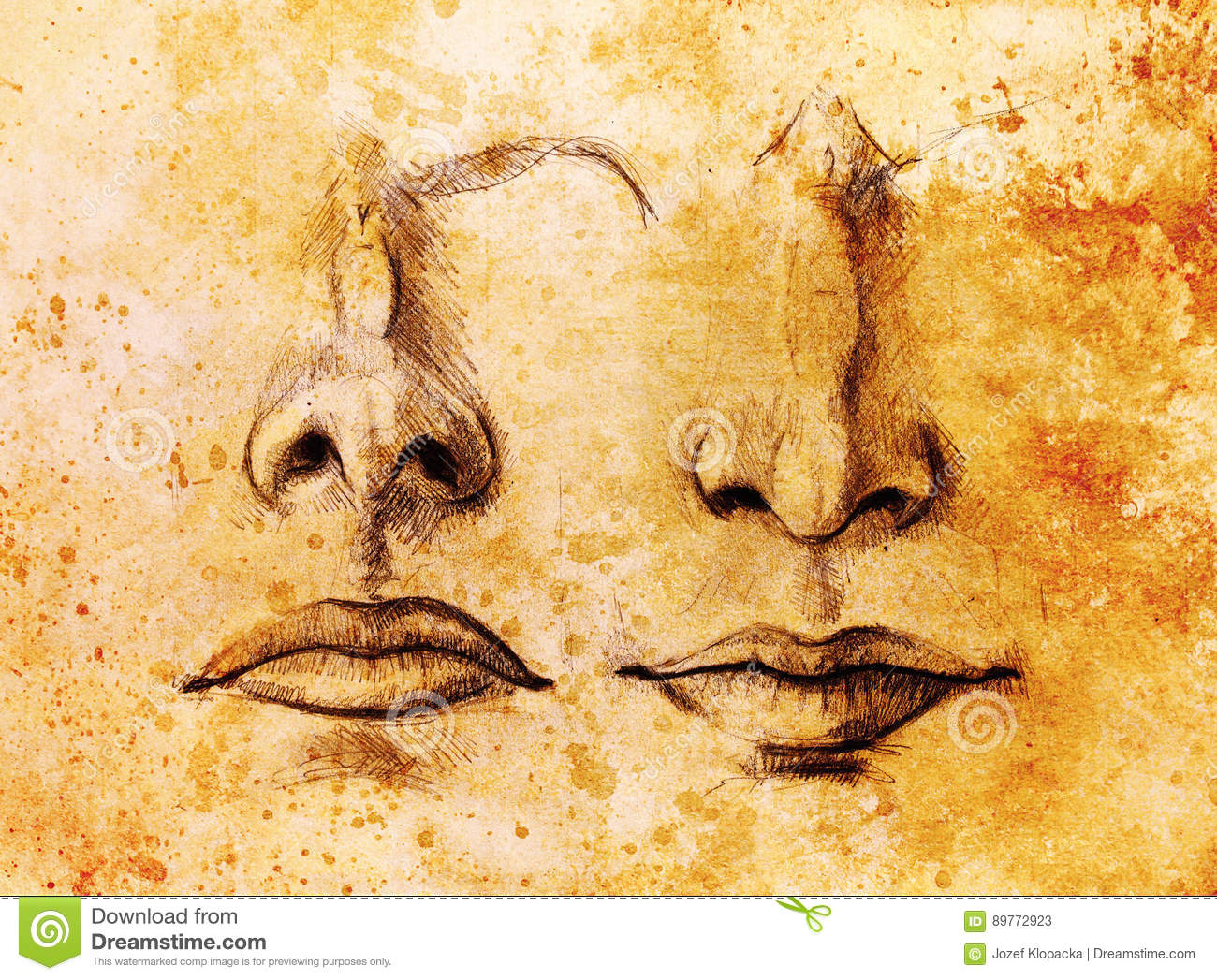 Artistic Sketch Of Face Parts, Nose And Mouth, On Colorful ...