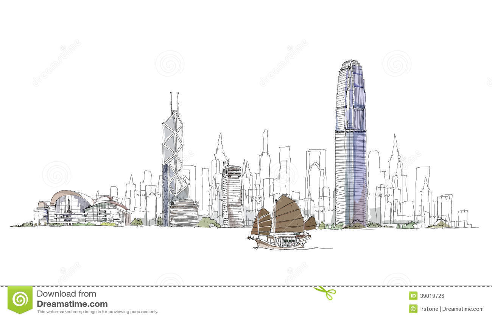 Artistic Sketch Of Hong Kong Bay Sketch Collection Stock