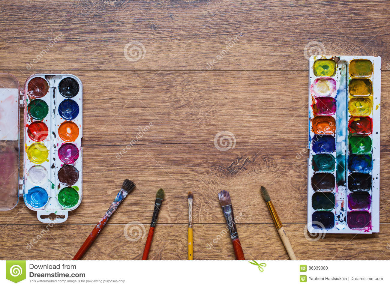 Artistic squirrel brush and water paints. Drawing tools for pupils, students, artists.