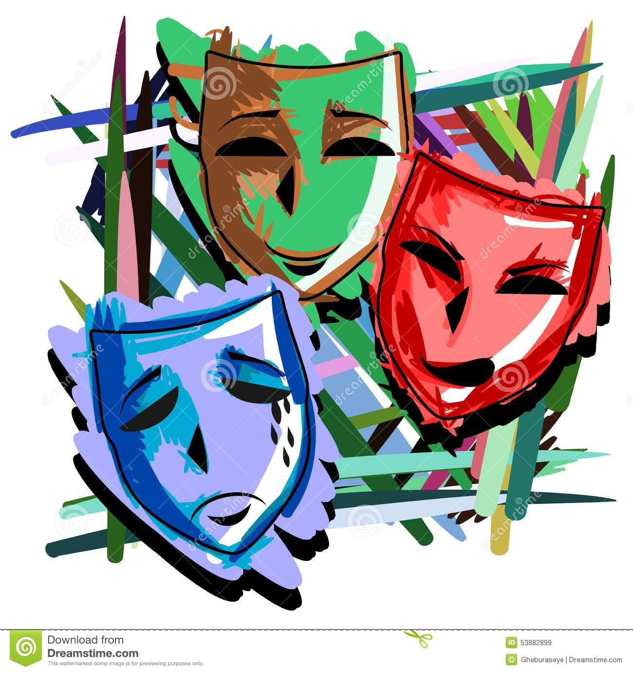 Artistic Theater Masks On Abstract Colorful Background ...