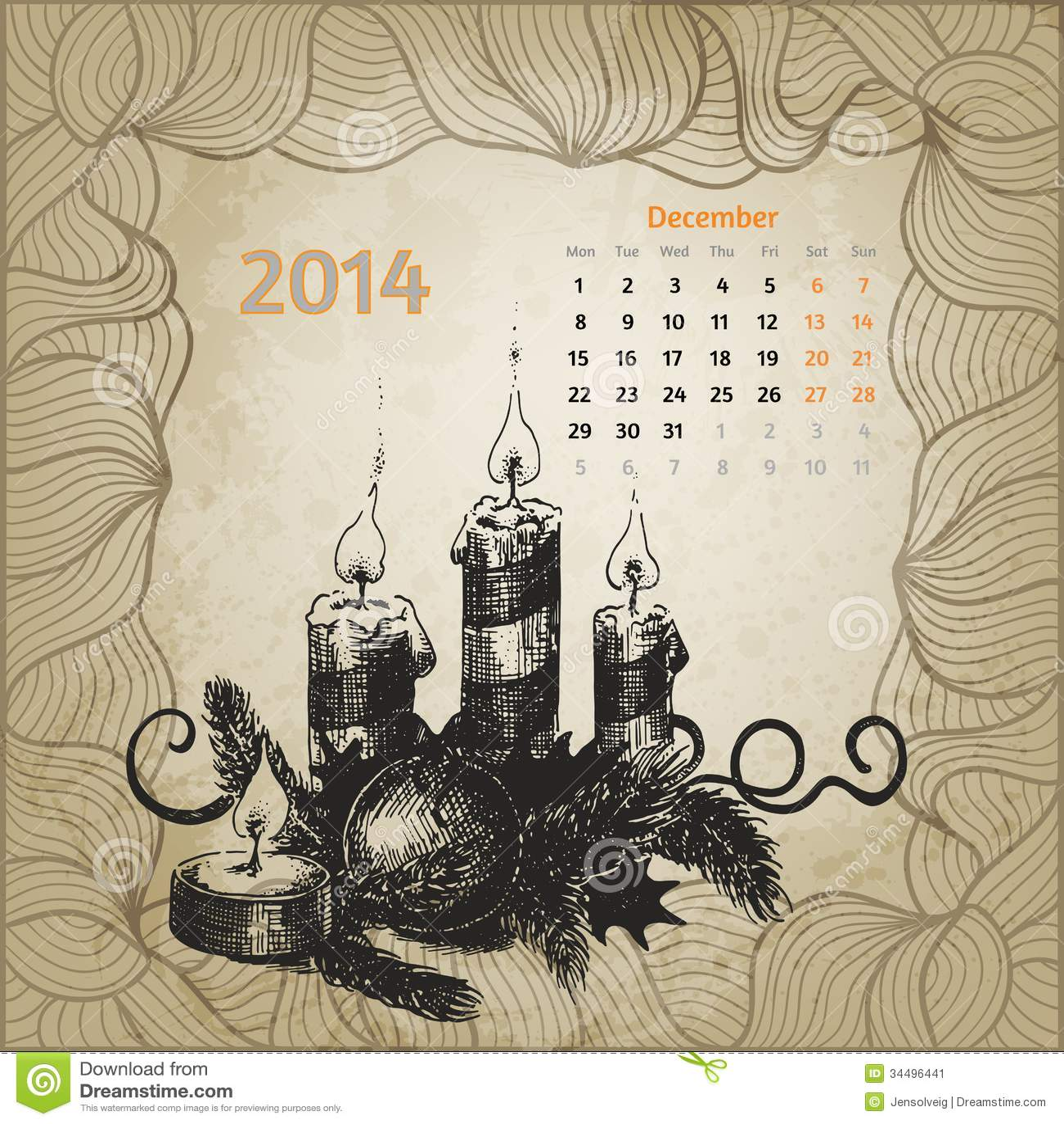Calendar Artistic : Artistic vintage calendar for december stock vector