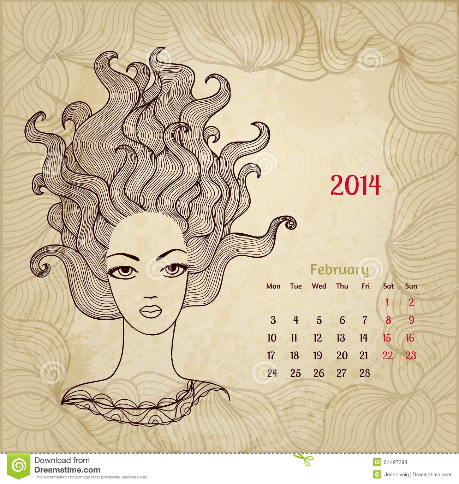 Calendar Artistic : Artistic vintage calendar for february stock images