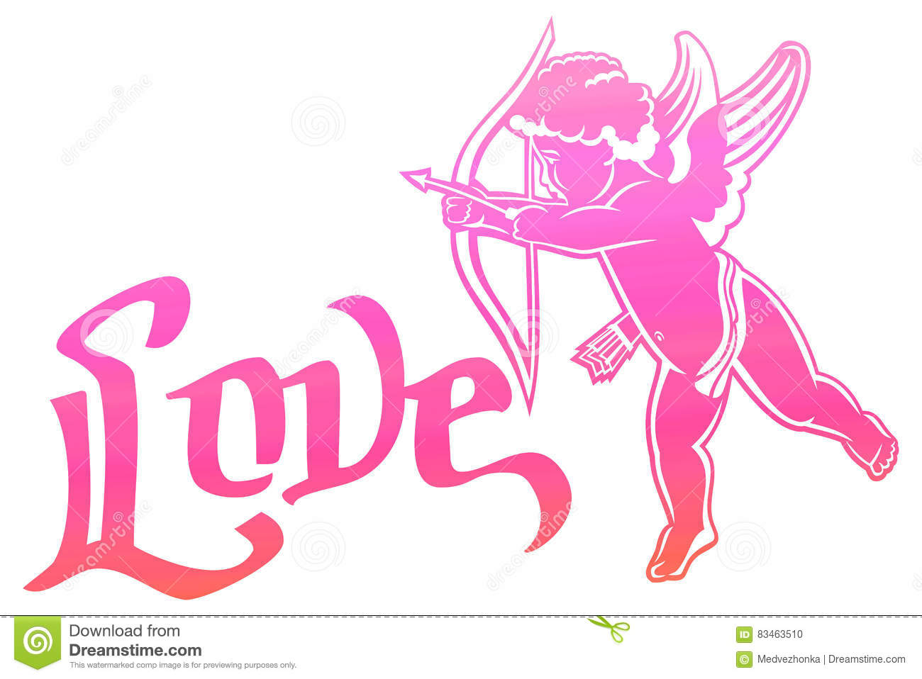 Artistic Written Single Word Love And Cupid Hunting For Hearts Royalty Free Il Ration Download