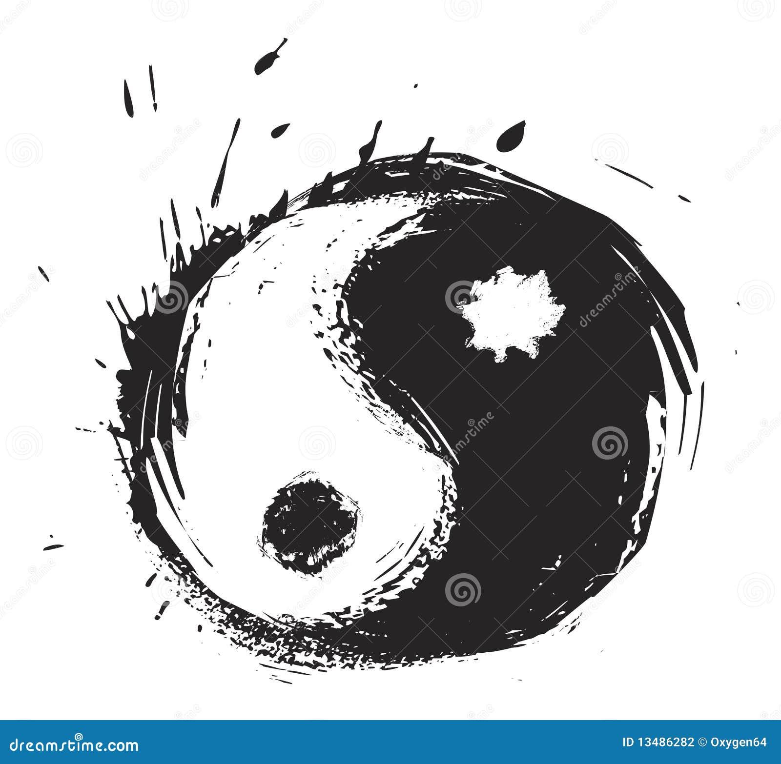 Ying Yang Japanese Tattoo Stock Vector Illustration Of Black