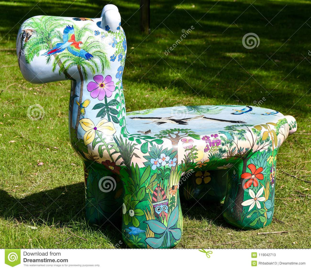 Artistically Painted Animal Bench at Zoo