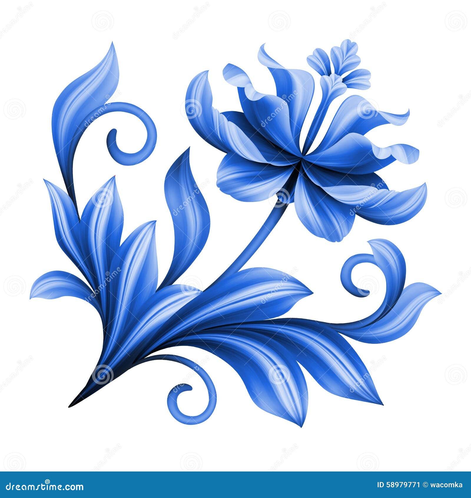 Artistiek bloemenelement, abstracte gzhel volkskunst, blauwe bloem
