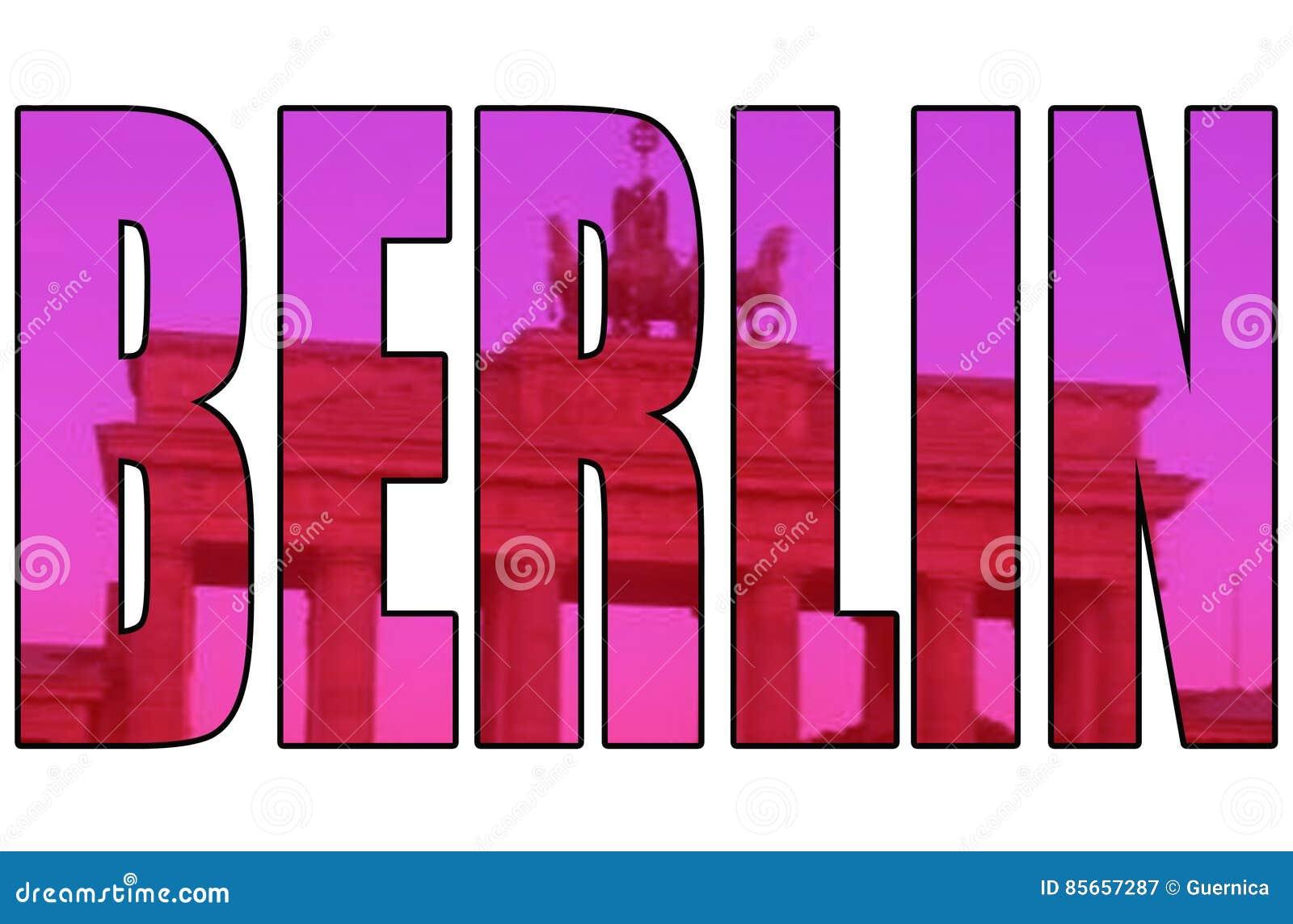 Artistiek geïsoleerd de poortbeeld van Berlijn door tekst