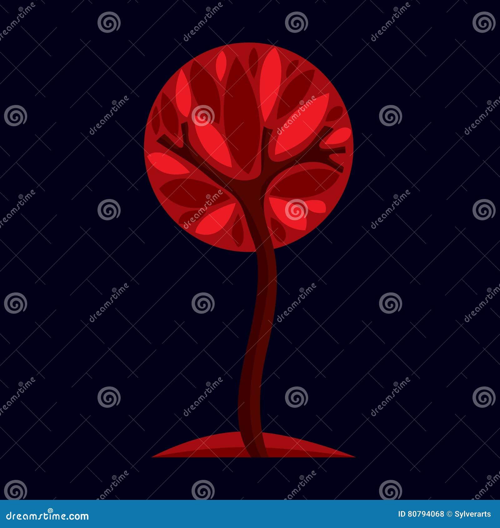 Artistiek gestileerd natuurlijk symbool, creatieve boomillustratie Ca