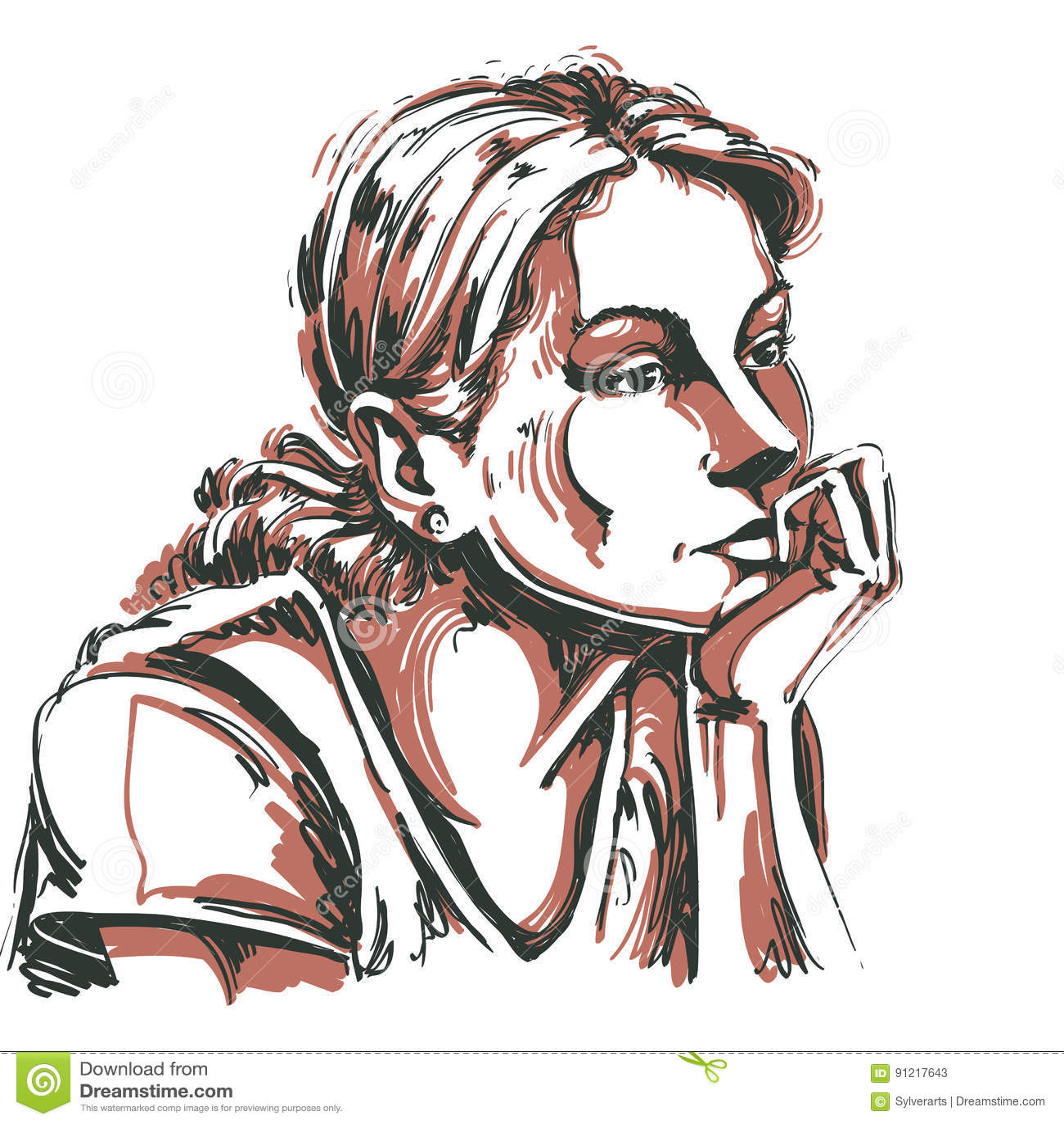 Artistiek hand-drawn vectorbeeld, portret van gevoelige melanchol