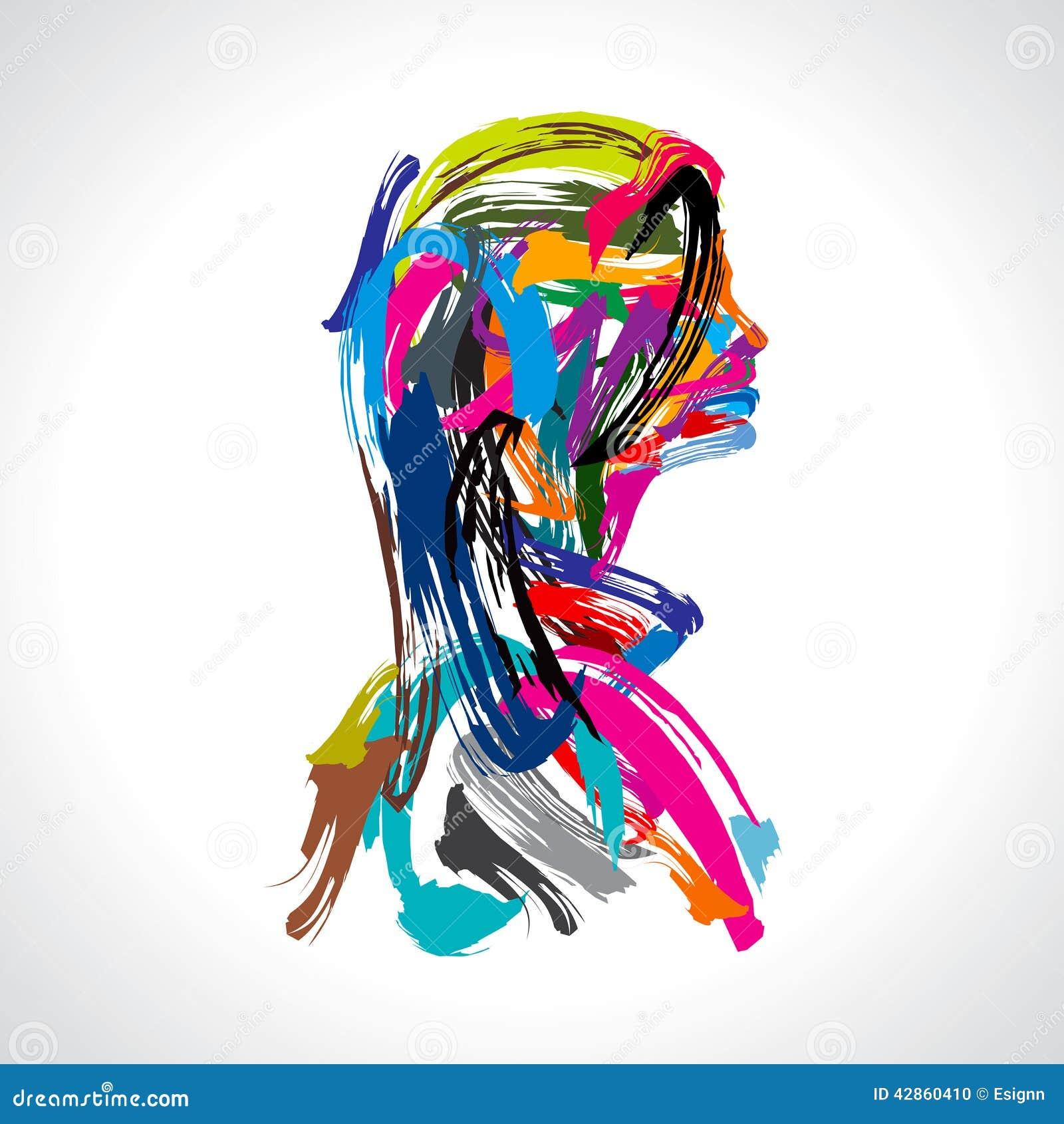 Artistiek portret van dame met kleuren strock