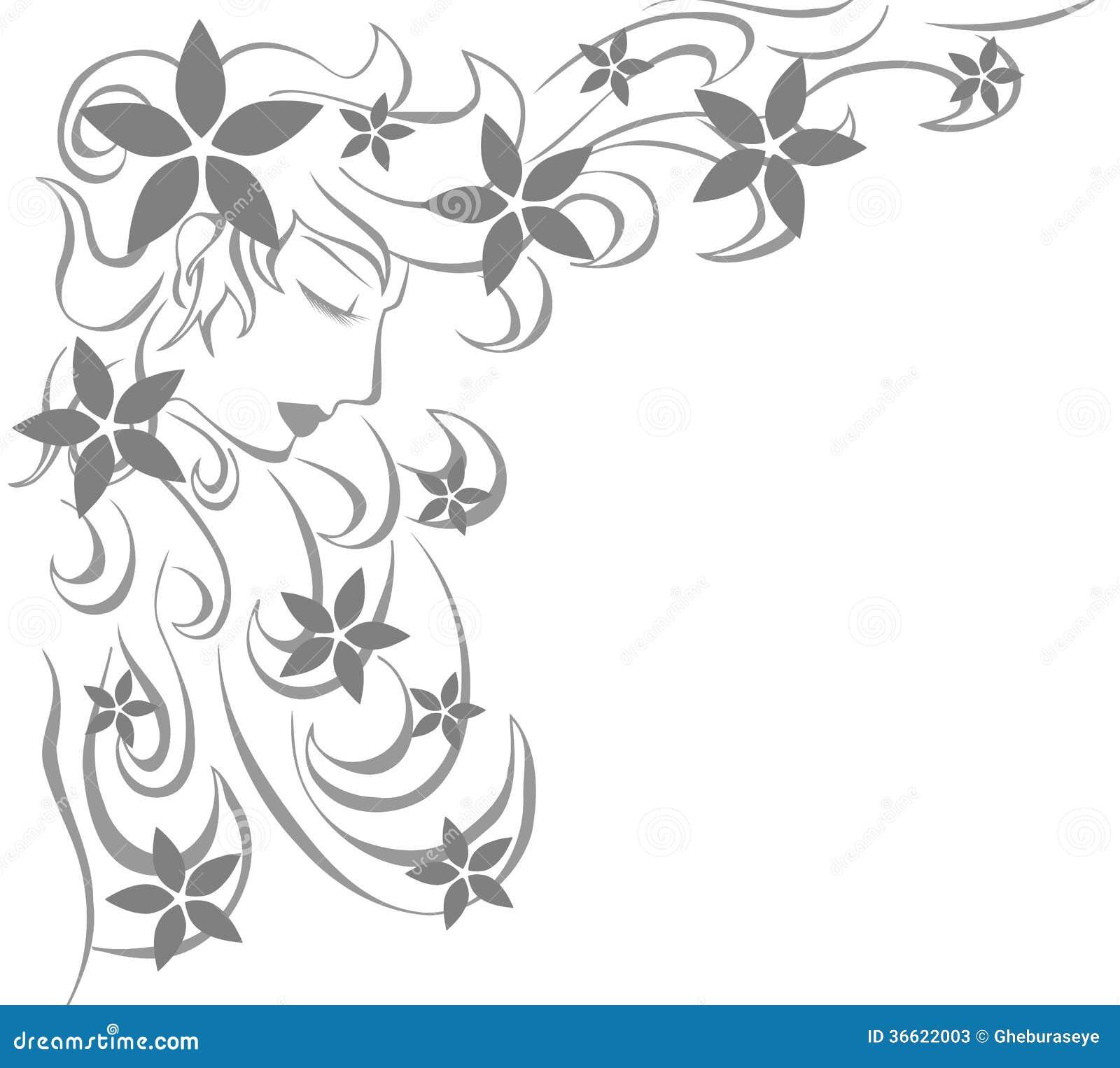 Artistiek vrouwengezicht met bloemen