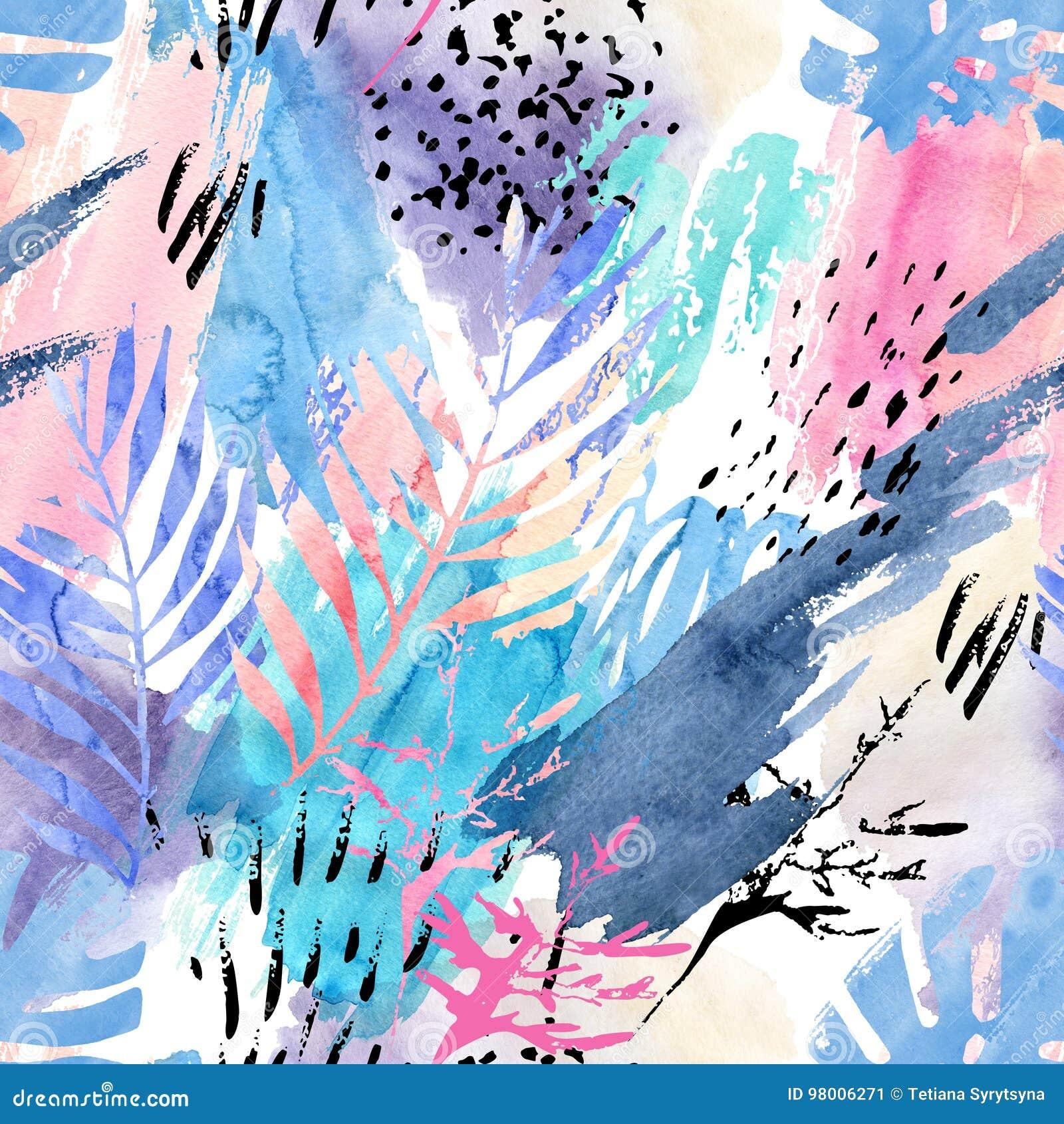Artistiek waterverf naadloos patroon