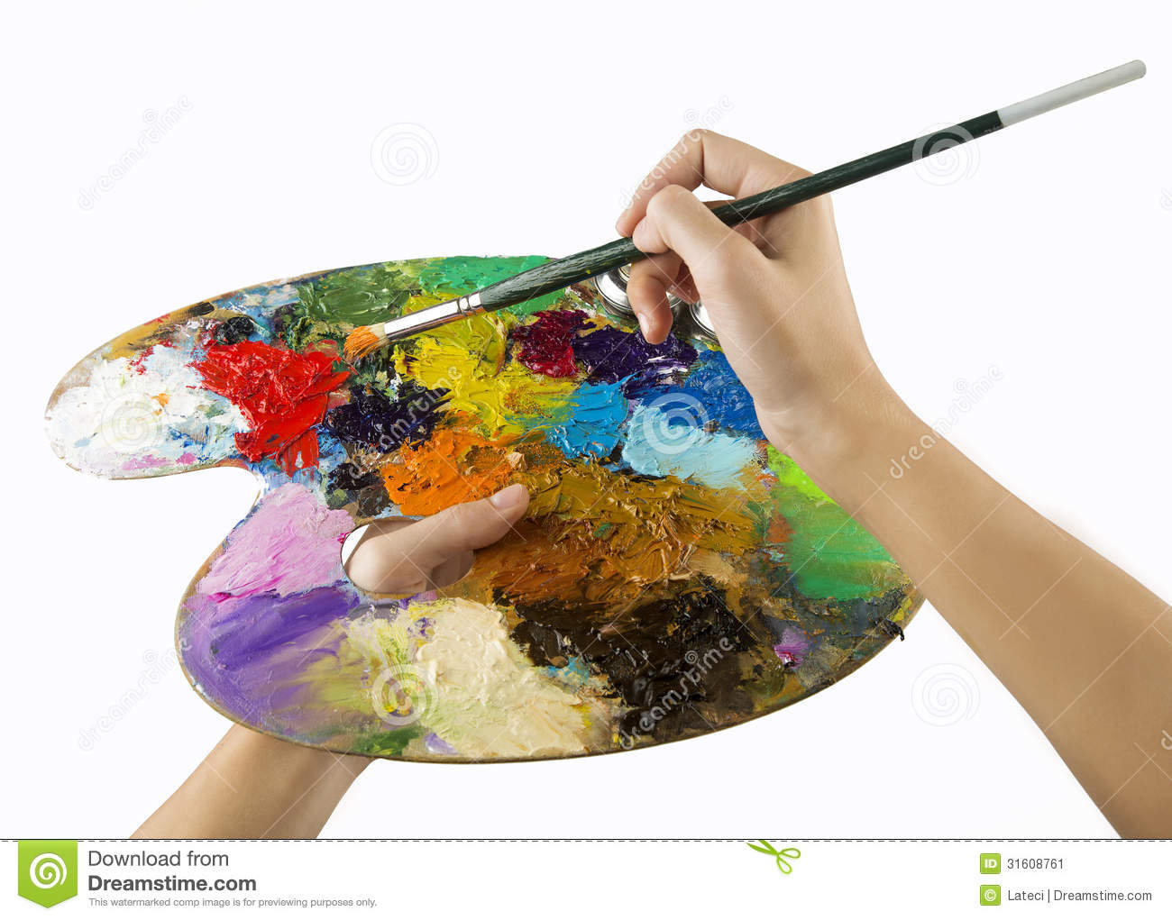 Artists Hands Holding A Paint Brush And Palette Stock Image - Image ...